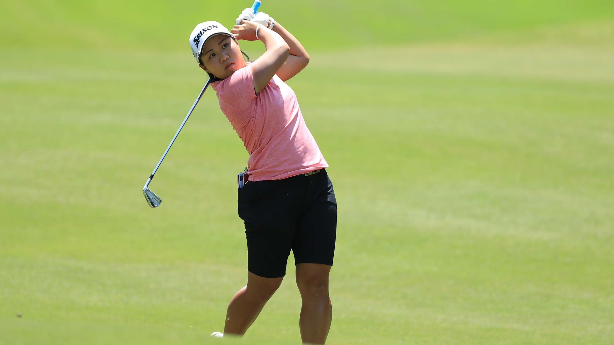 Nasa Hataoka of Japan hits her second shot on the third hole during the third round of the Pure Silk Championship