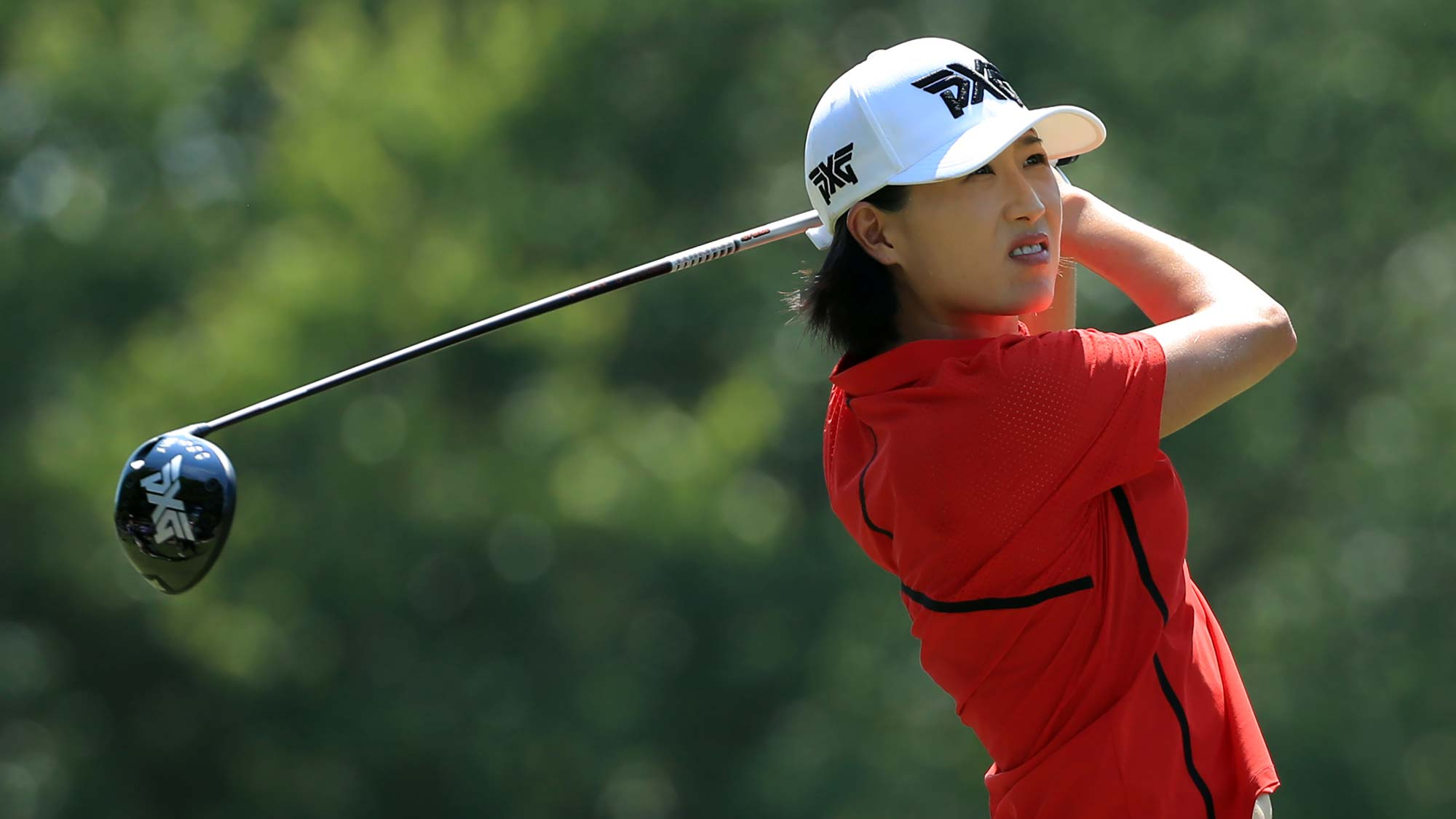 Jennifer Song hits her tee shot on the third hole during the final round of the Pure Silk Championship
