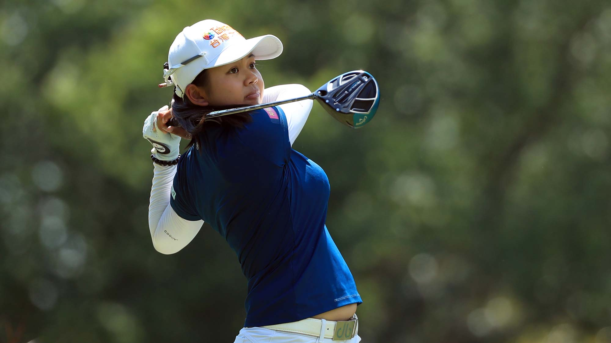 Wei-Ling Hsu of Chinese Taipei hits her tee shot on the third hole during the final round of the Pure Silk Championshipv