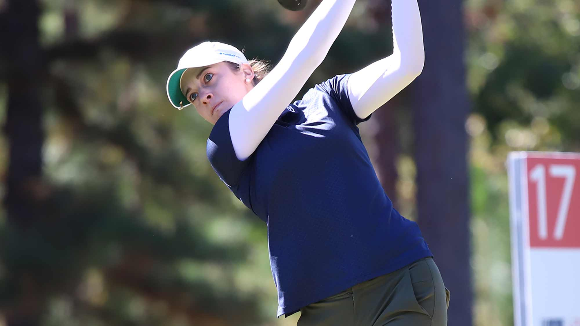 Kim Kaufman watches her tee shot during the first round of the 2019 LPGA Q-Series at Pinehurst Resort