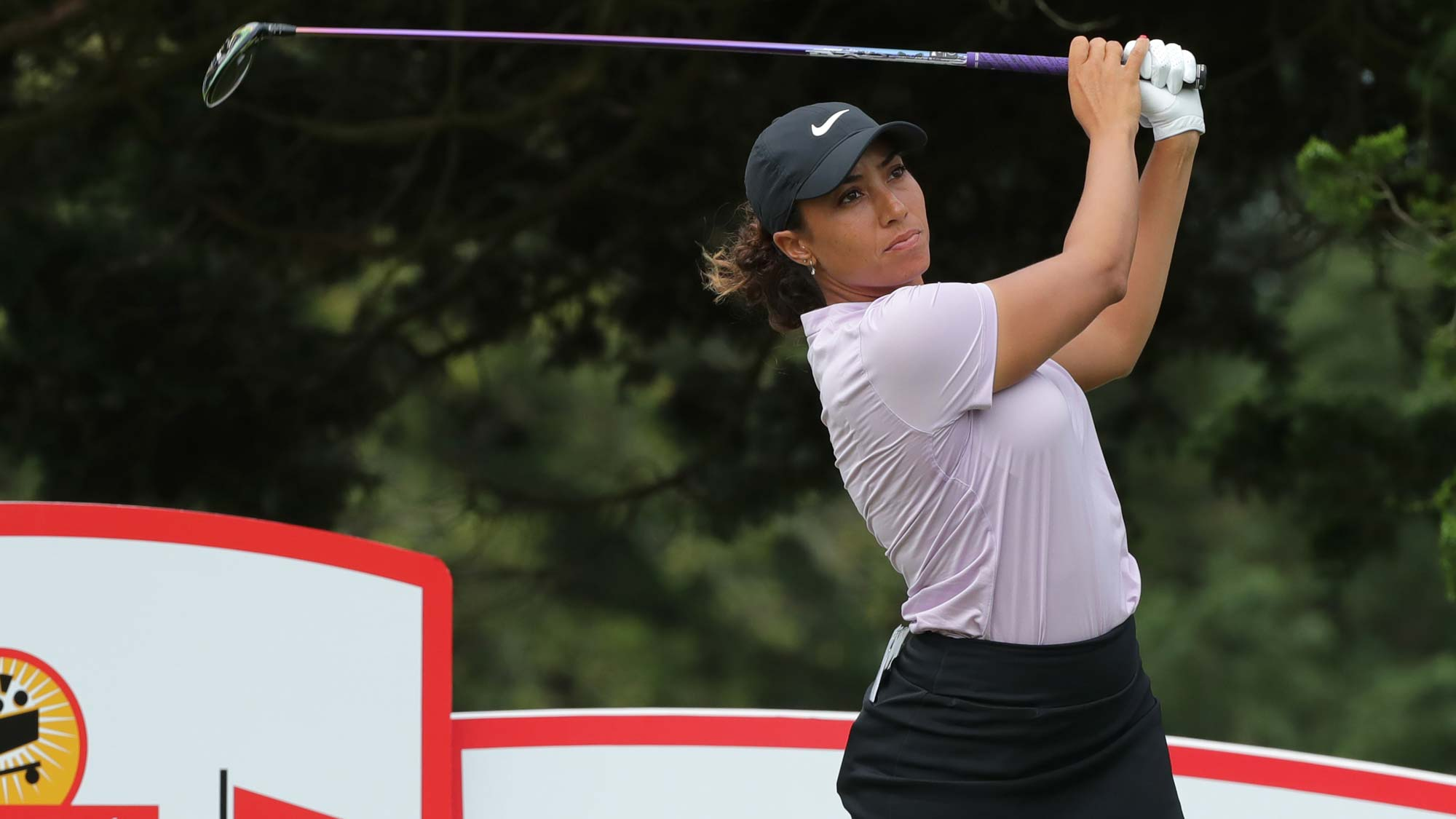 Cheyenne Woods hits her tee shot on the eighth hole during the first round of the ShopRite LPGA Classic presented by Acer