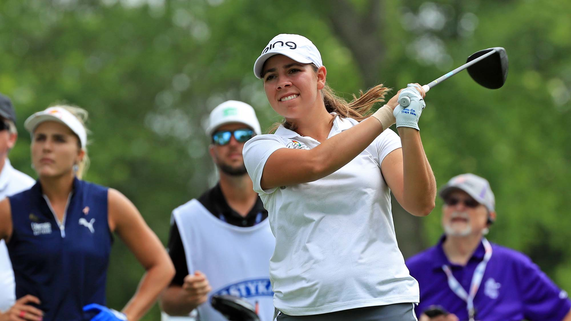 Kristen Gillman hits her tee shot on the ninth hole during the first round of the ShopRite LPGA Classic presented by Acer