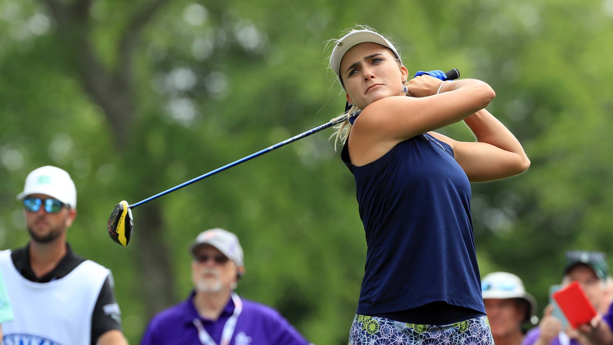 Lexi Thompson hits her tee shot on the ninth hole during the first round of the ShopRite LPGA Classic presented by Acer
