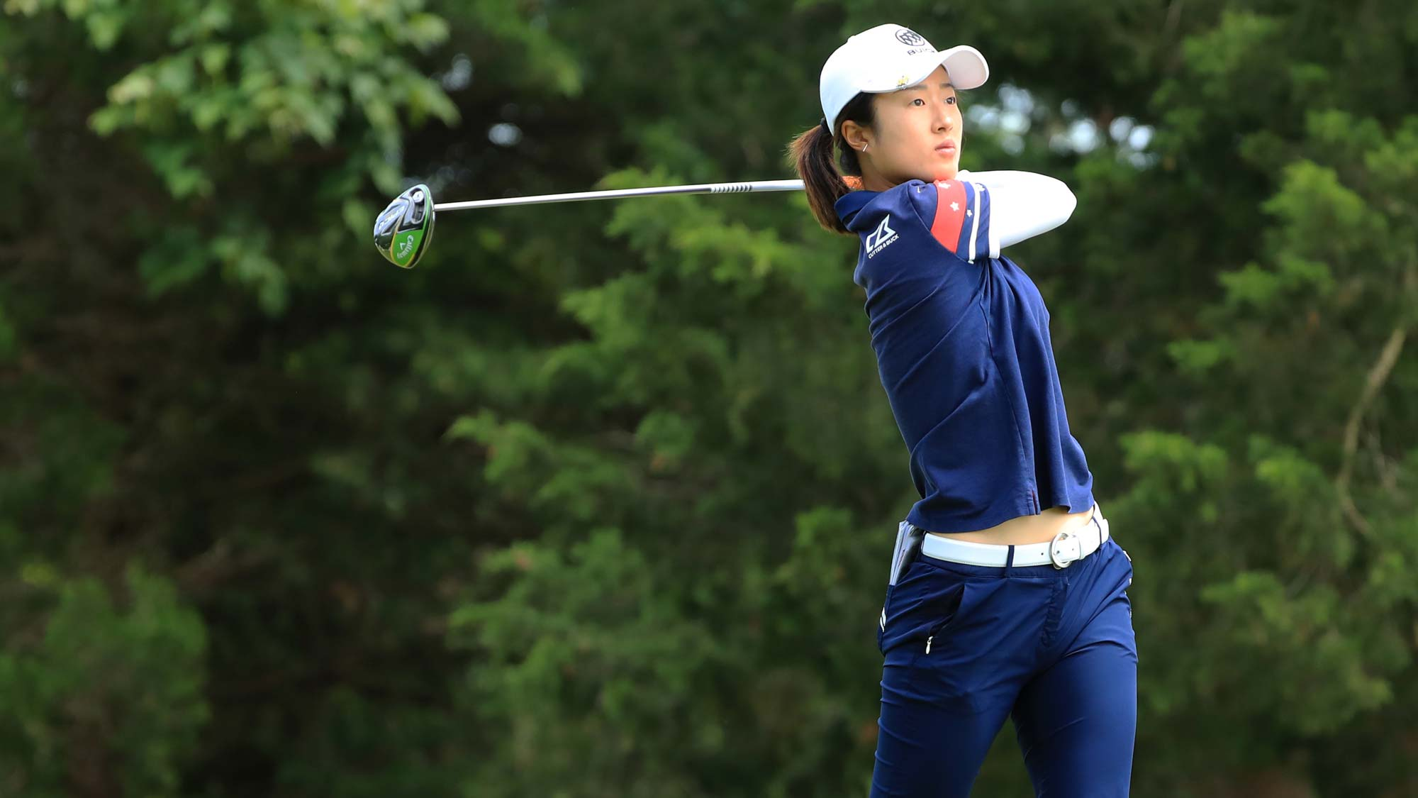 Yu Liu of China hits her tee shot on the 16th hole during the second round of the ShopRite LPGA Classic presented by Acer