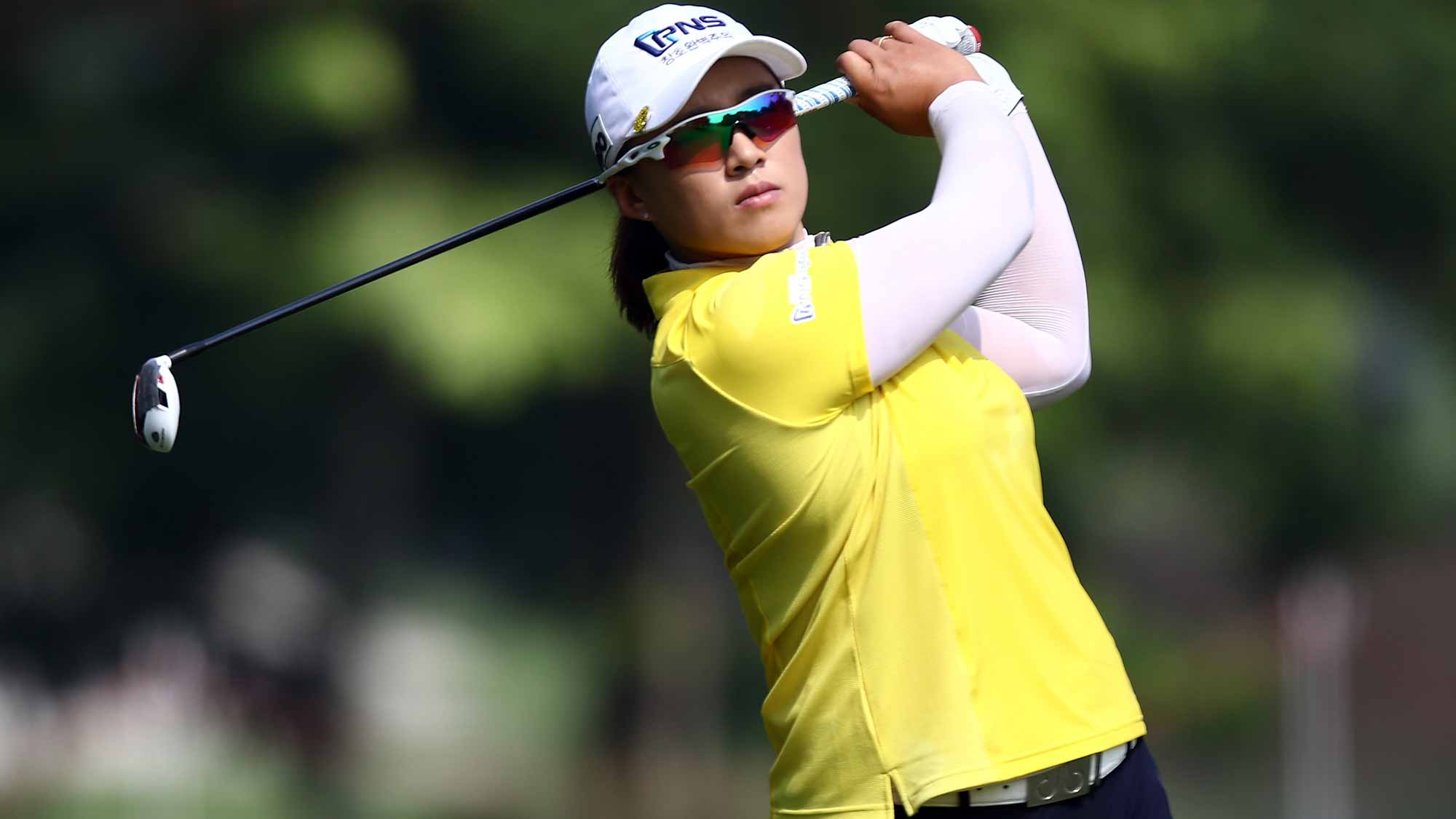 Amy Yang of South Korea plays her 2nd shot on the 8th hole during round one of the Sime Darby LPGA Tour at Kuala Lumpur Golf & Country Club