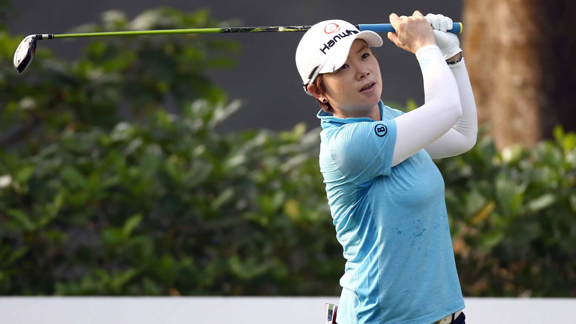 Eun-Hee Ji of South Korea plays her tee shot on the 4th hole during round one of the Sime Darby LPGA Tour at Kuala Lumpur Golf & Country Club