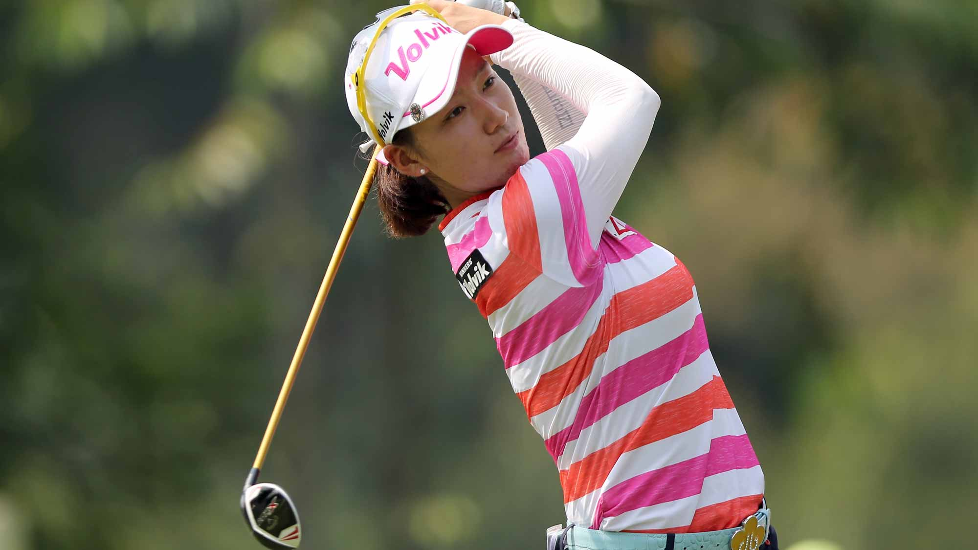 Chella Choi of South Korea plays her tee shot on the 4th hole during round two of the Sime Darby LPGA Tour at Kuala Lumpur Golf & Country Club