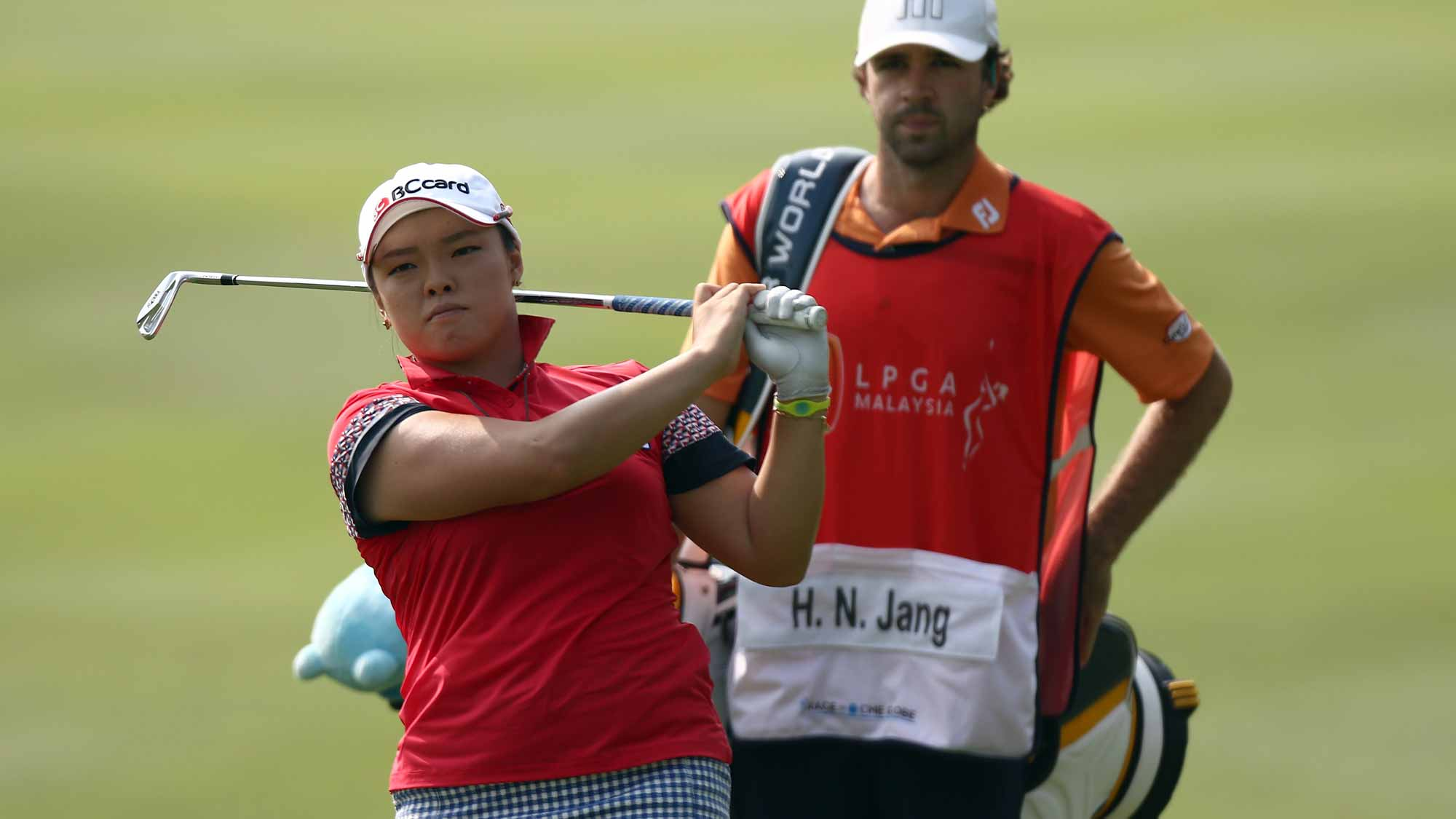 Ha Na Jang of South Korea plays her 2nd shot on the 2nd hole during round two of the Sime Darby LPGA Tour at Kuala Lumpur Golf & Country Club