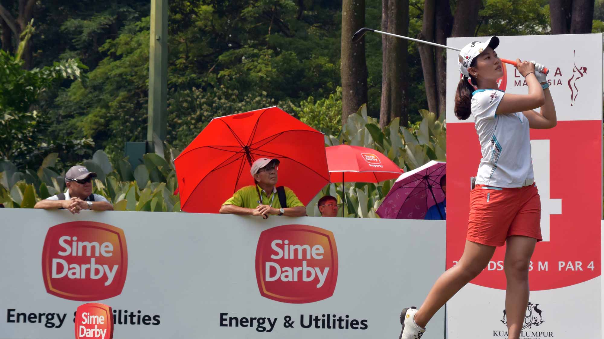 Xi Yu Lin of China plays her tee shot on the 4th hole during round two of the Sime Darby LPGA Tour at Kuala Lumpur Golf & Country Club