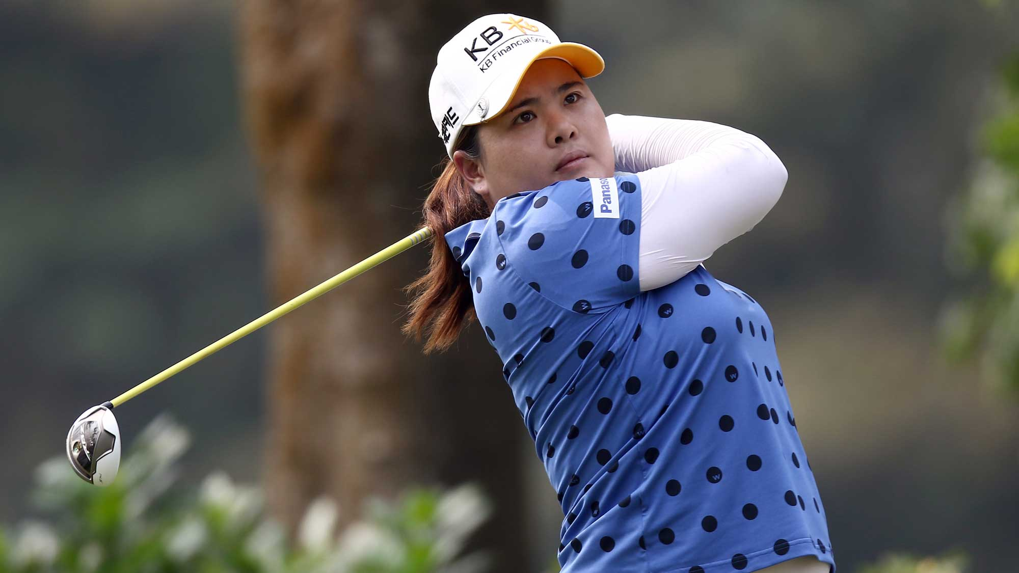 Inbee Park of South Korea watches her tee shot on the 4th hole during round three of the Sime Darby LPGA Tour at Kuala Lumpur Golf & Country Club
