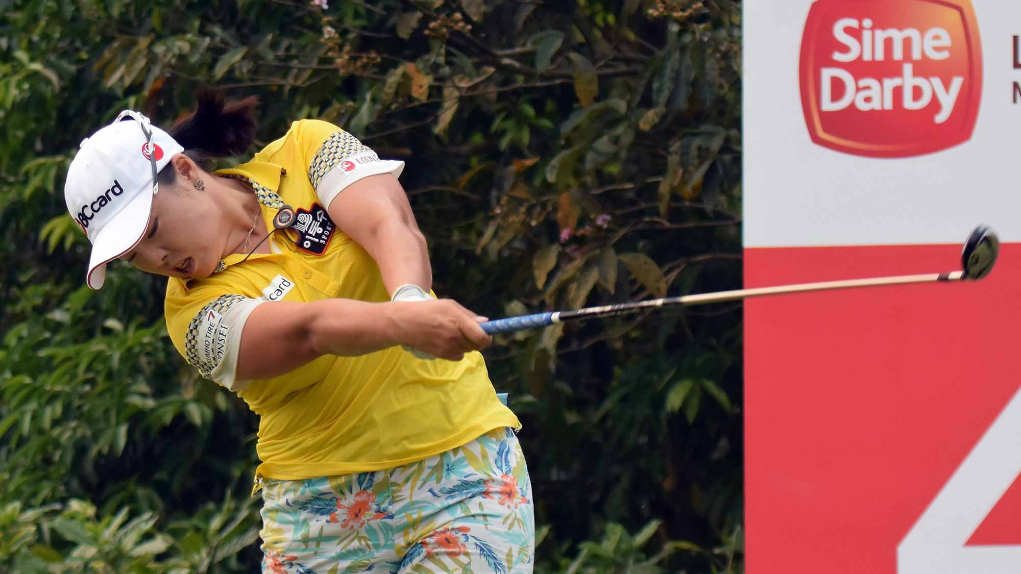 Na Ha Jang of South Korea plays on the 4th hole during the final round of the Sime Darby LPGA Tour at Kuala Lumpur Golf & Country Club