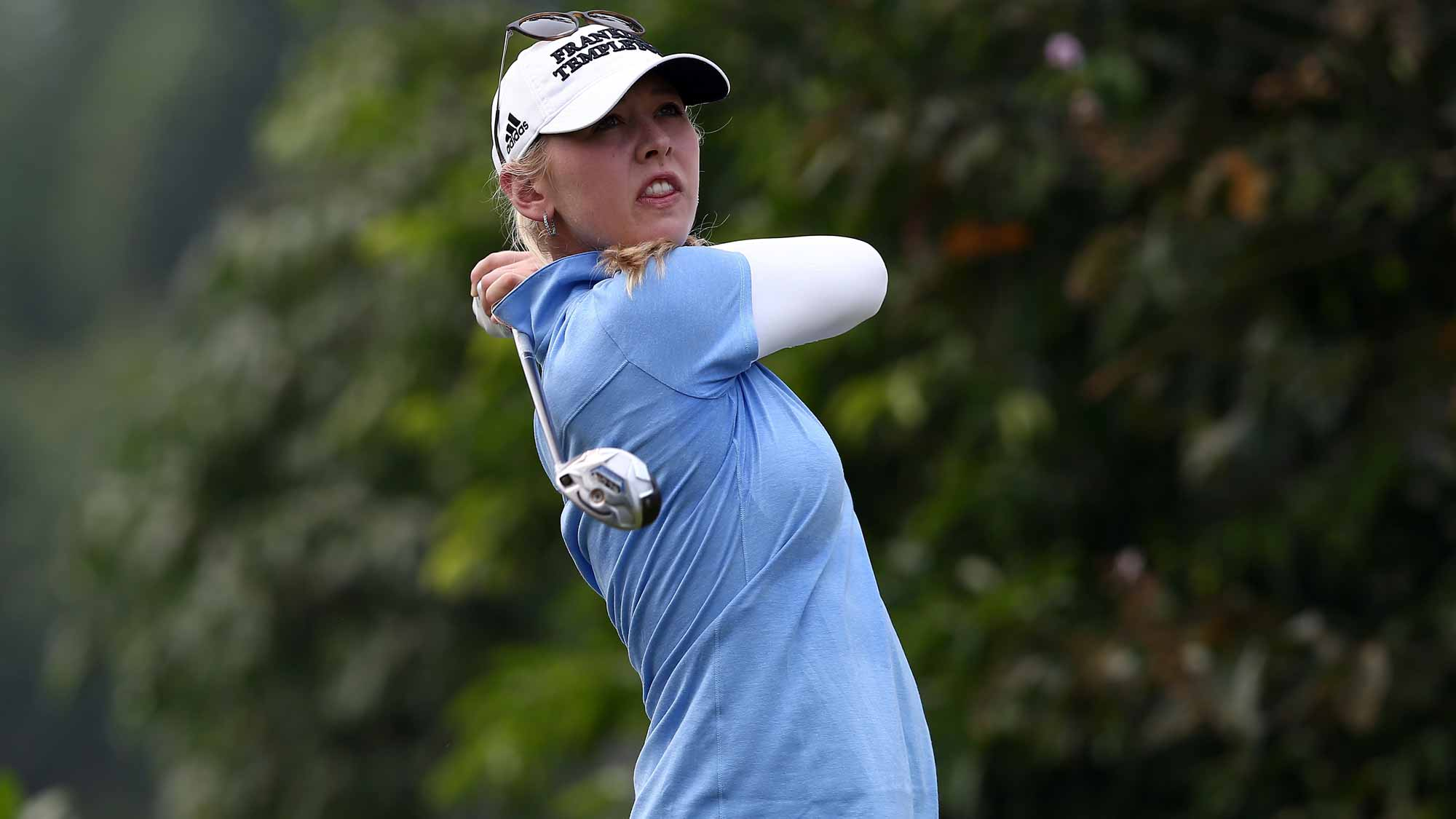 Jessica Korda of USA watches her tee shot on the 4th hole during the final round of the Sime Darby LPGA Tour at Kuala Lumpur Golf & Country Club