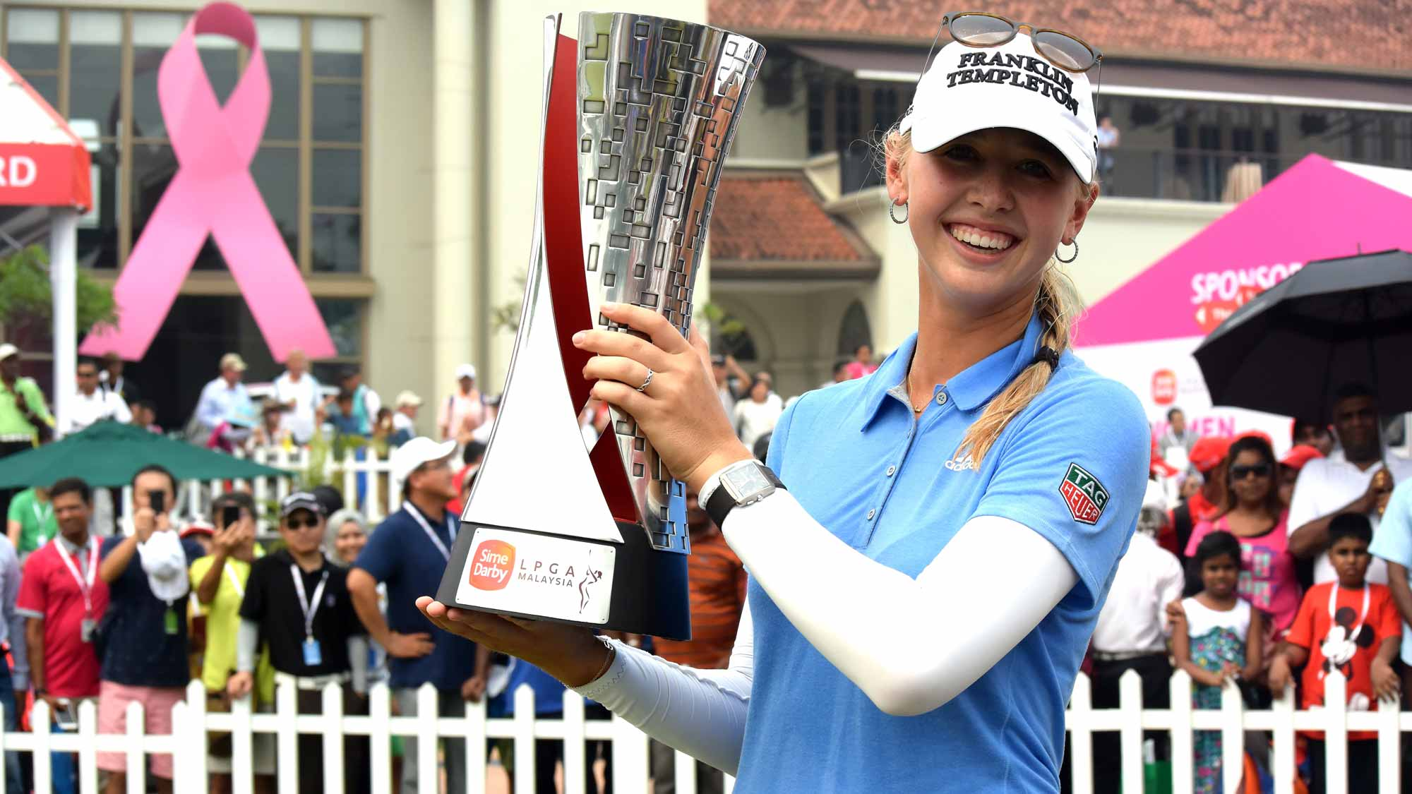 Jessica Korda of USA poses with the 2015 Sime Darby LPGA Tour trophy during the live TV presentation after the final round of the Sime Darby LPGA Tour at Kuala Lumpur Golf & Country Club
