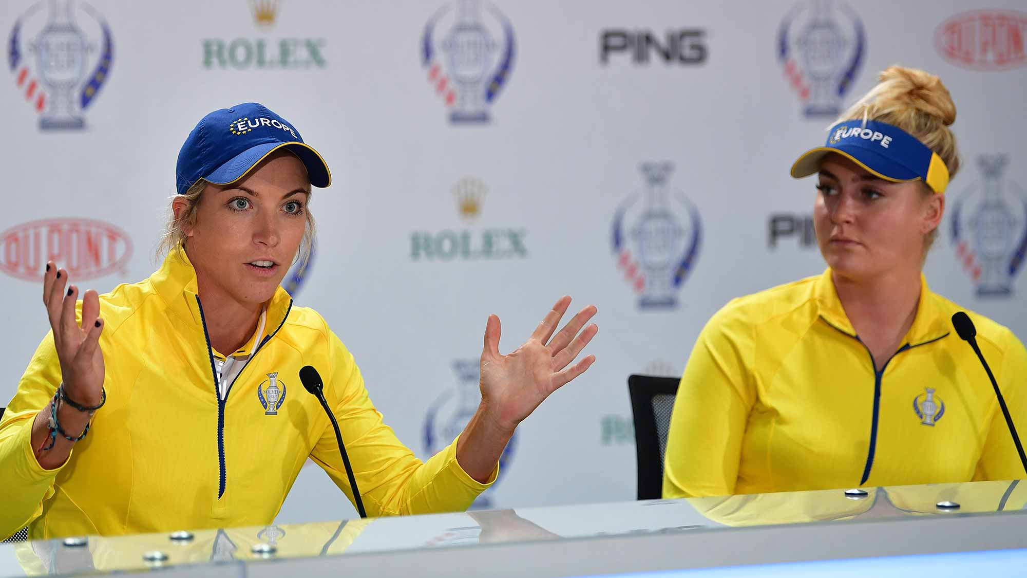Mel Reid and Charley Hull of Team Europe talk to the media during a press conference for The Solheim Cup at the Des Moines Country Club