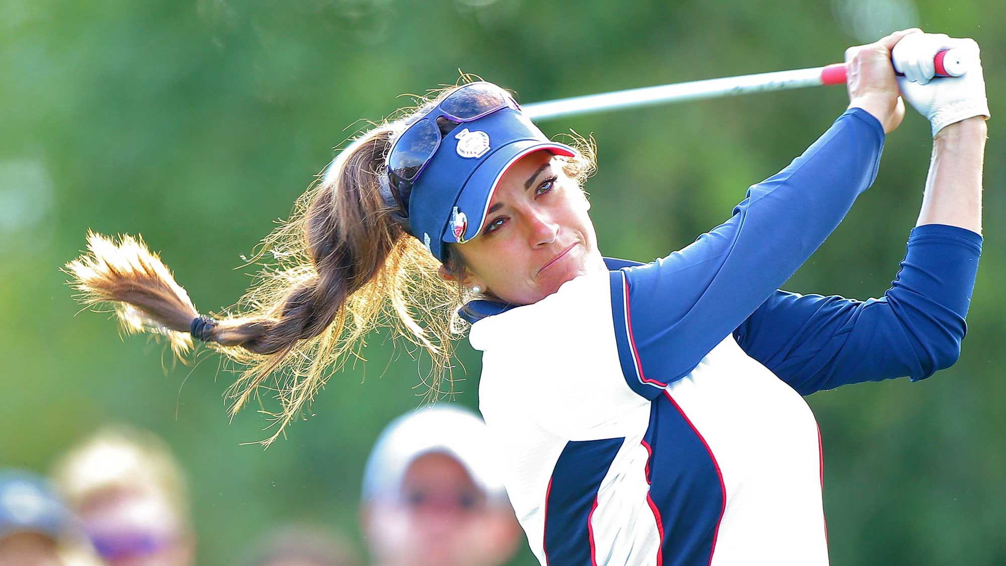 Gerina Piller of the United States Team tees off during an afternoon fourball match at the 2015 Solheim Cup