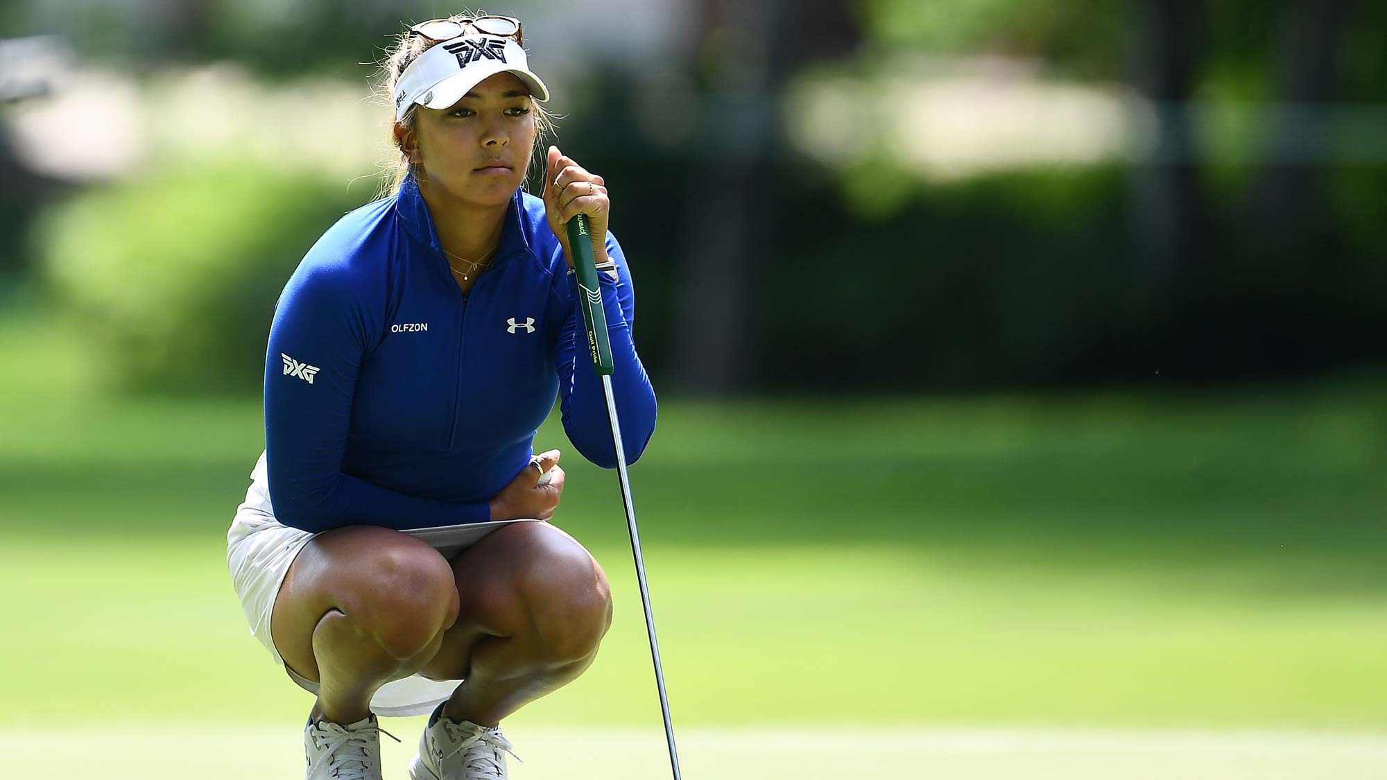 Alison Lee lines up a putt on the 17th green during the first round of the Thornberry Creek LPGA Classic