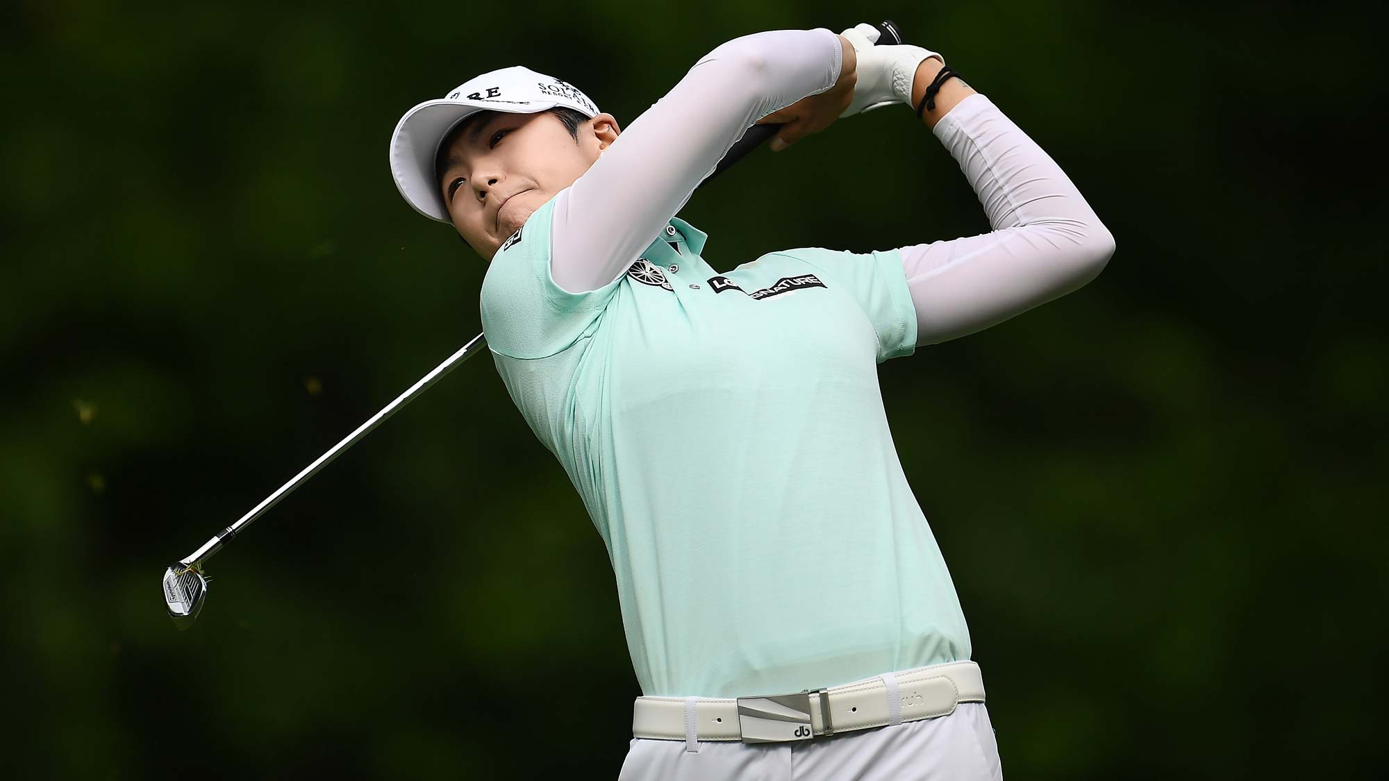 Sung Hyun Park of Korea hits her tee shot on the second hole during the first round of the Thornberry Creek LPGA Classic