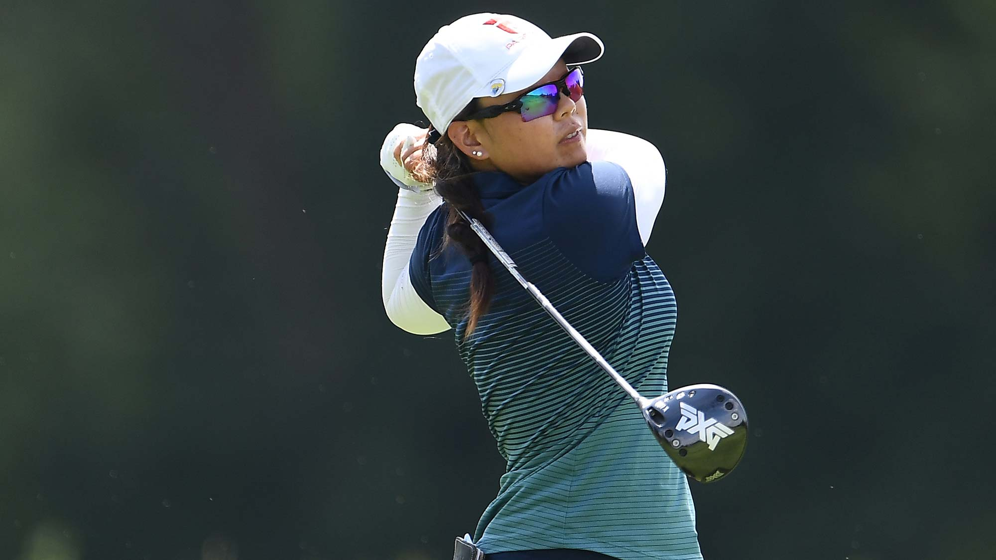 Mina Harigae hits her tee shot on the 13th hole during the second round of the Thornberry Creek LPGA Classic