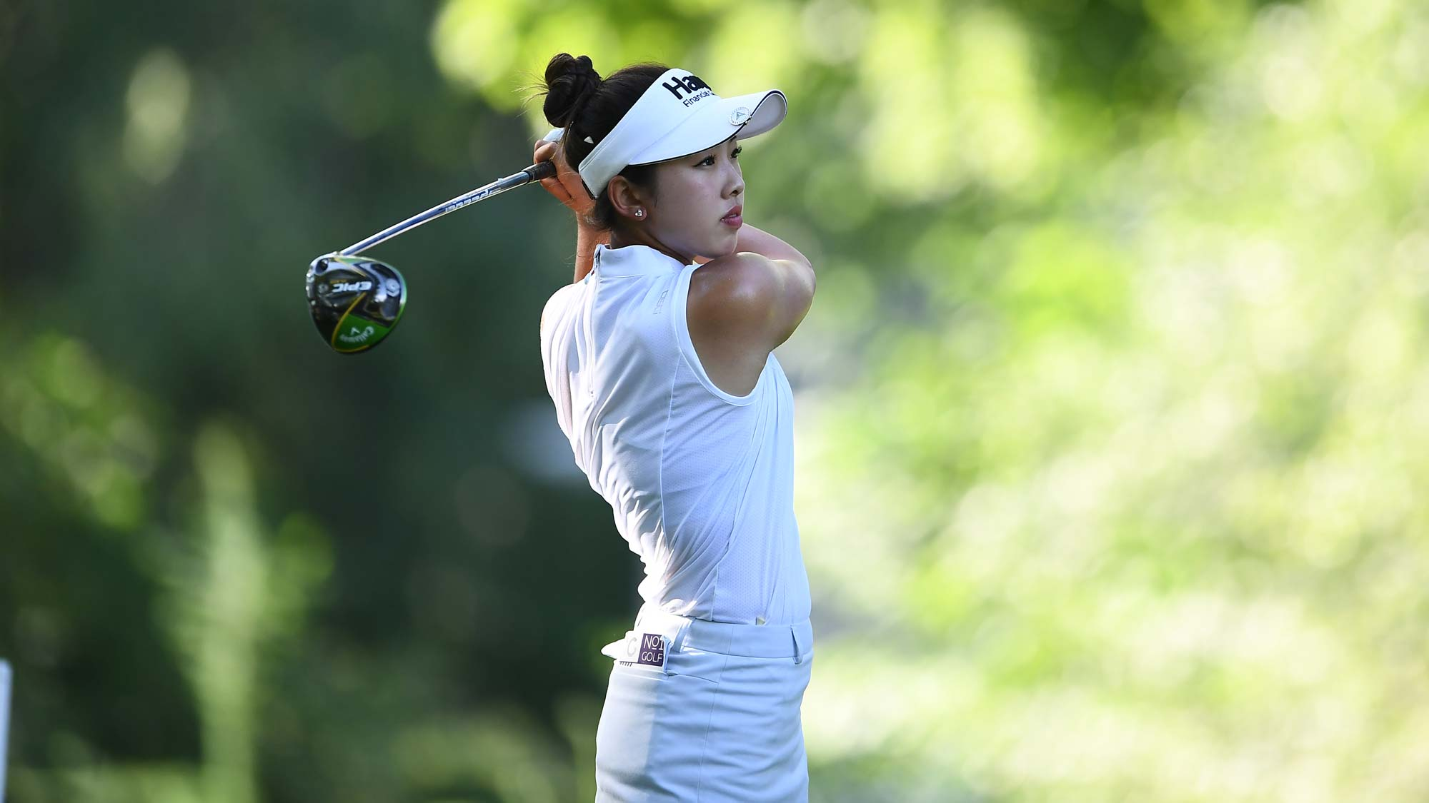 Yealimi Noh hits her tee shot on the third hole during the second round of the Thornberry Creek LPGA Classic