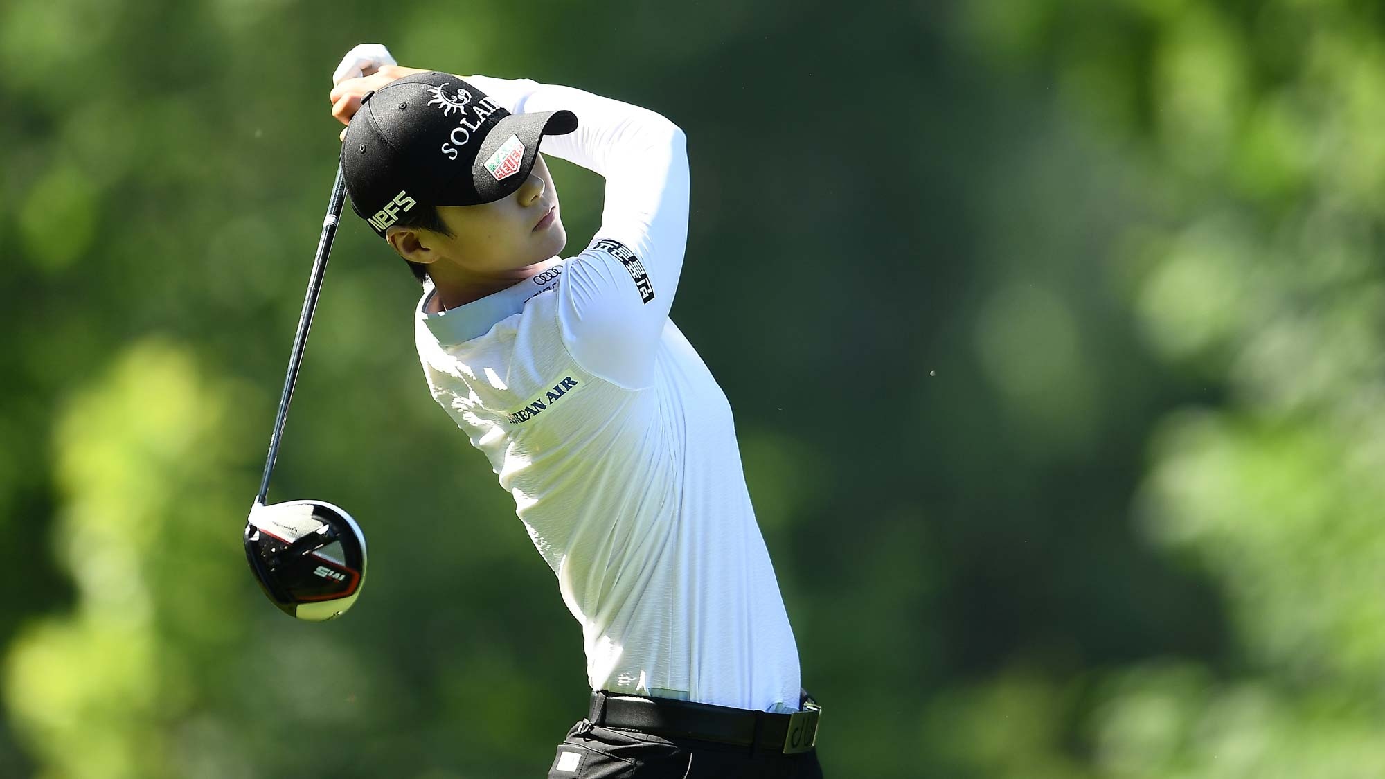 Sung Hyun Park of the Republic of Korea hits her tee shot on the third hole during the third round of the Thornberry Creek LPGA Classic