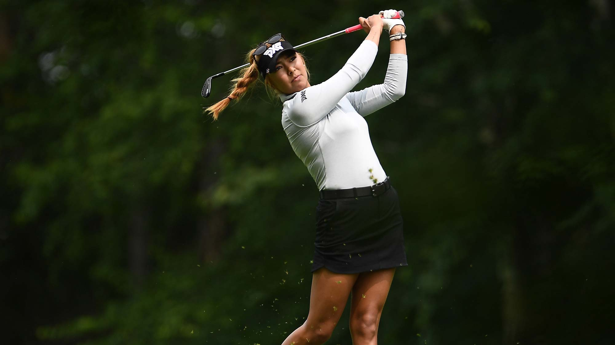 Alison Lee hits her second shot on the first hole during the final round of the Thornberry Creek LPGA Classic at Thornberry Creek