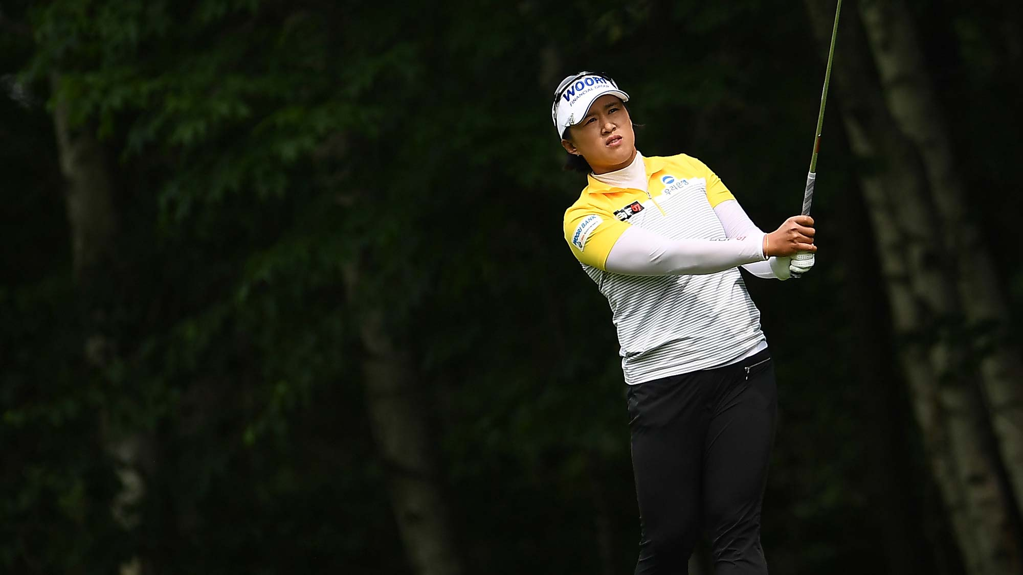 Amy Yang of the Republic of Korea hits her second shot on the first hole during the final round of the Thornberry Creek LPGA Classic