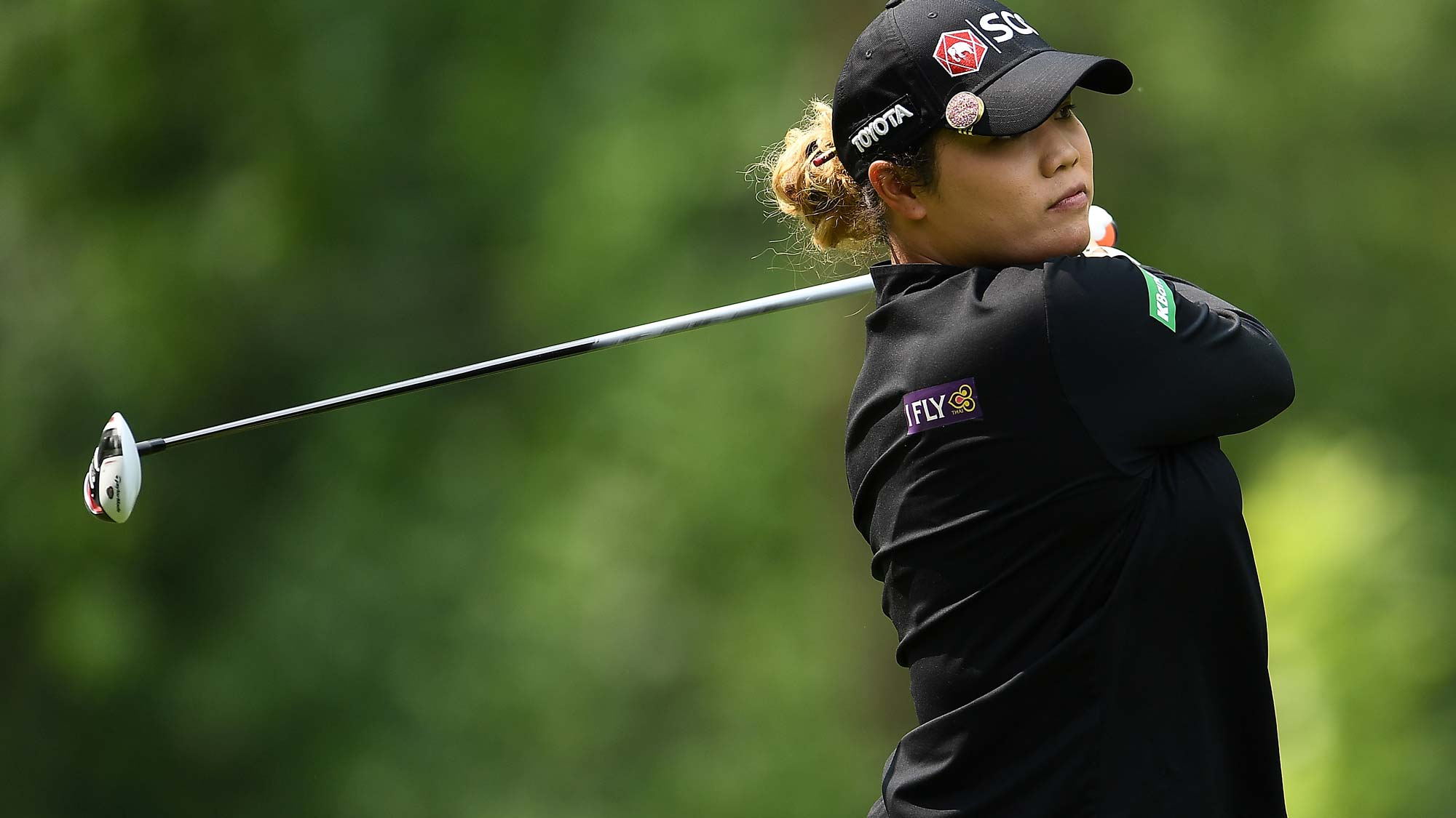 Ariya Jutanugarn of Thailand hits her tee shot on the third hole during the final round of the Thornberry Creek LPGA Classic