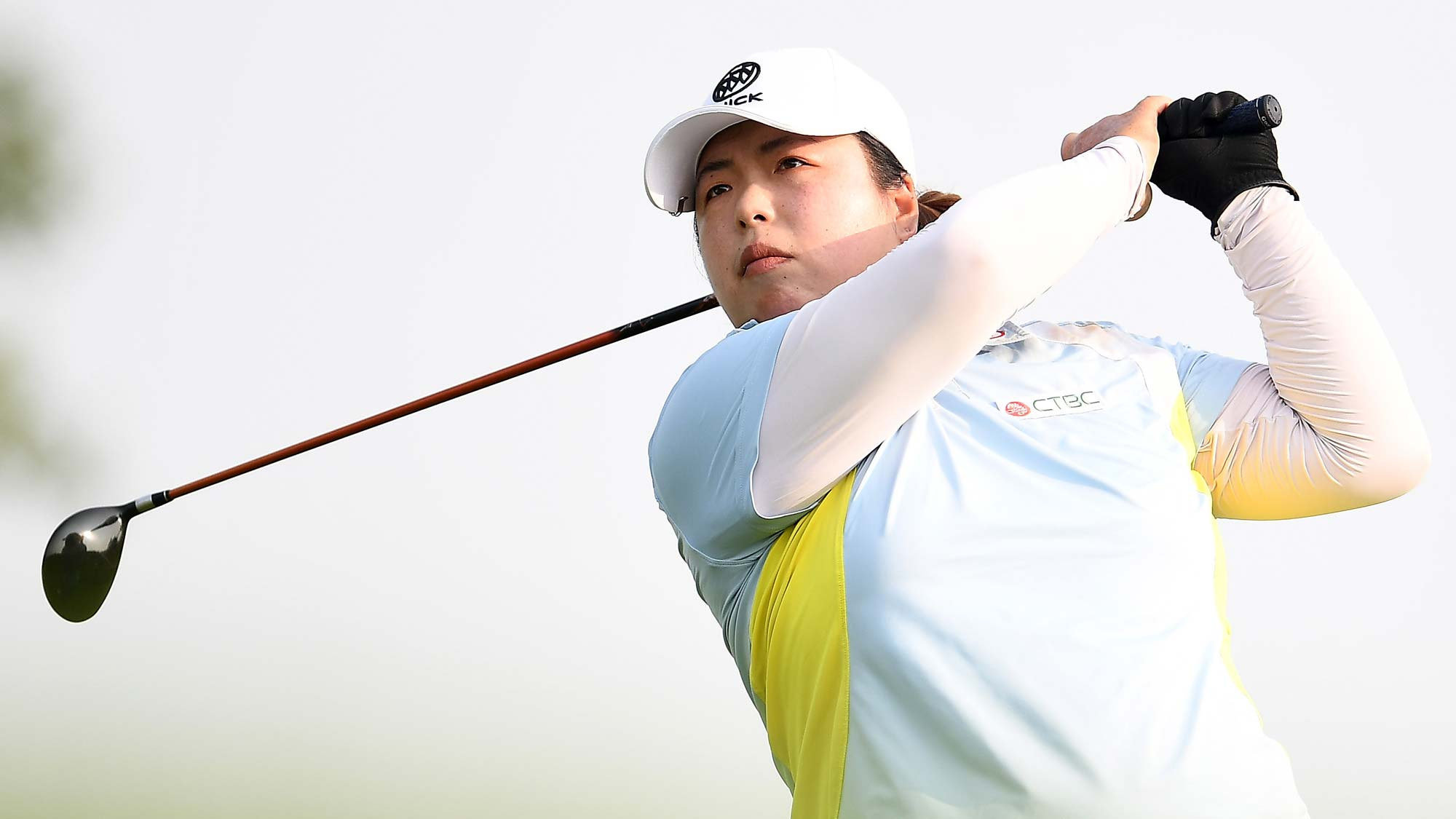 Shanshan Feng of China hits her tee shot on the 16th hole during the final round of the Thornberry Creek LPGA Classic