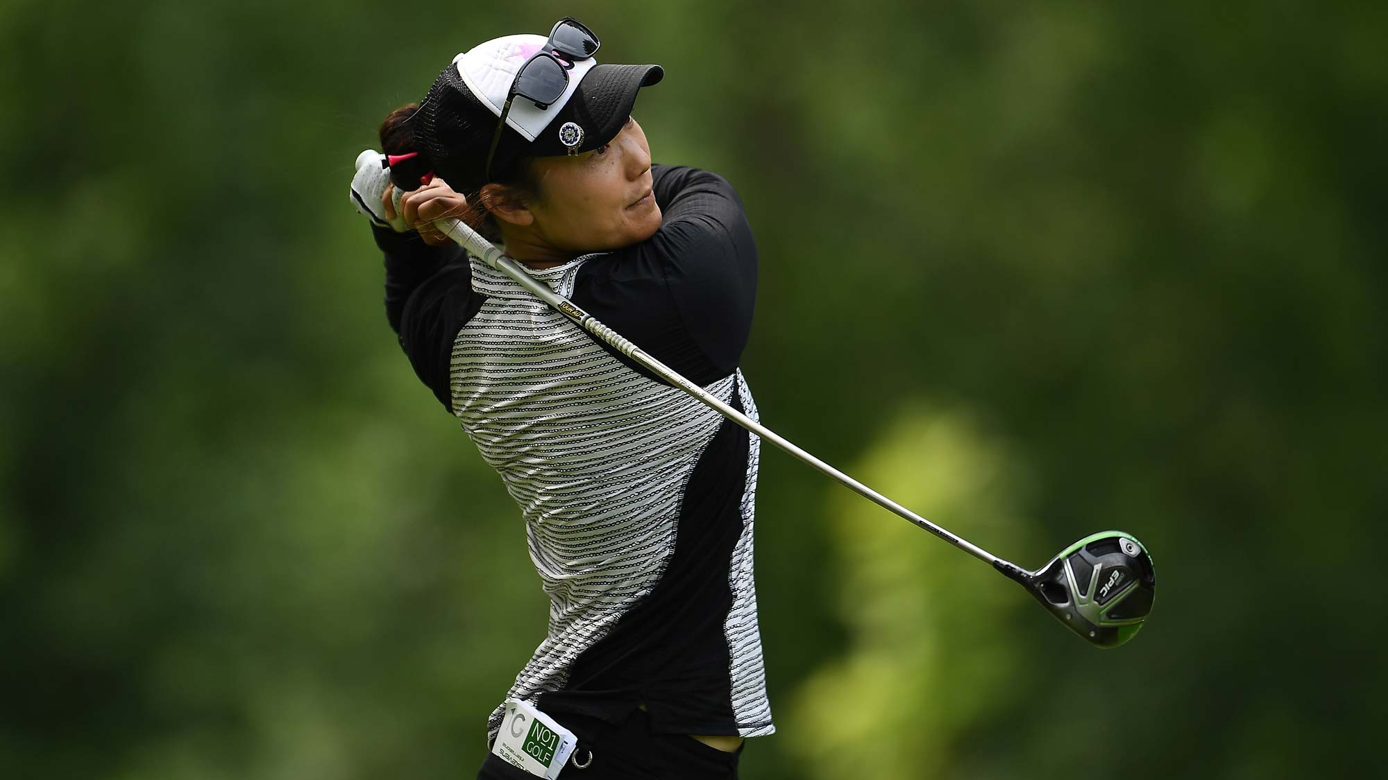 Tiffany Joh hits her tee shot on the third hole during the final round of the Thornberry Creek LPGA Classic