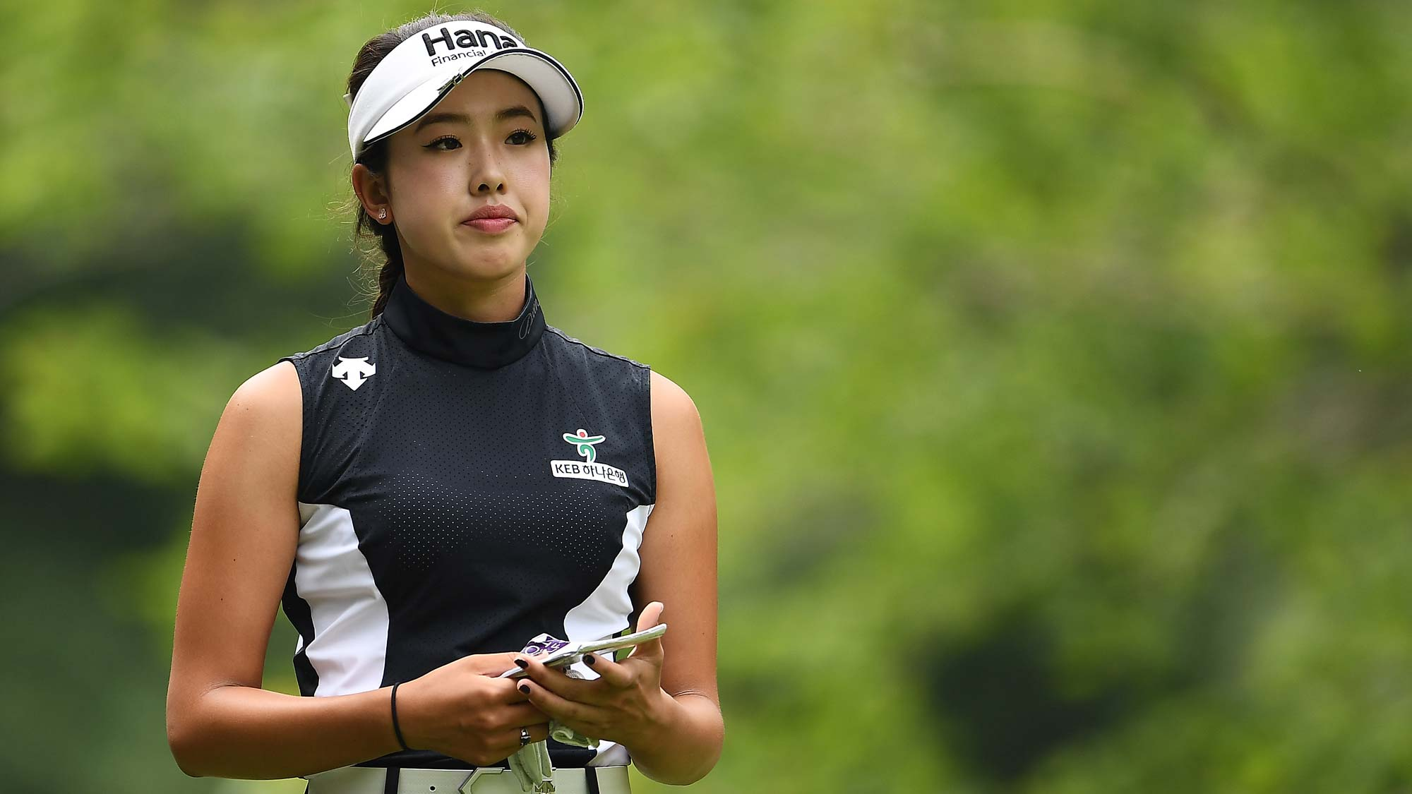 Yealimi Noh waits to hit her tee shot on the second hole during the final round of the Thornberry Creek LPGA Classic