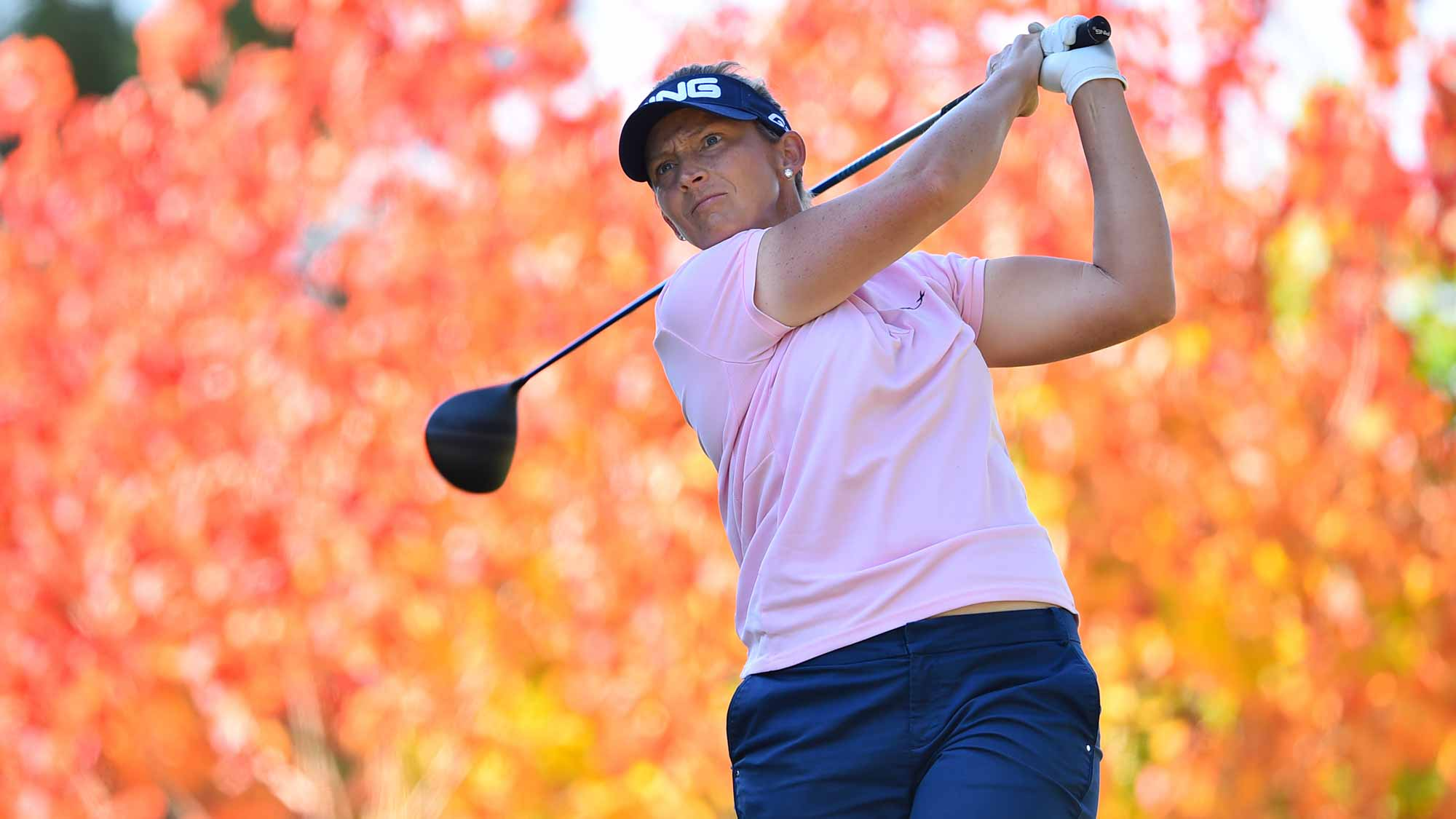 Angela Stanford of the USA hits her tee shot on the 2nd hole during the first round of the TOTO Japan Classics 2015 at the Kintetsu Kashikojima Country Club