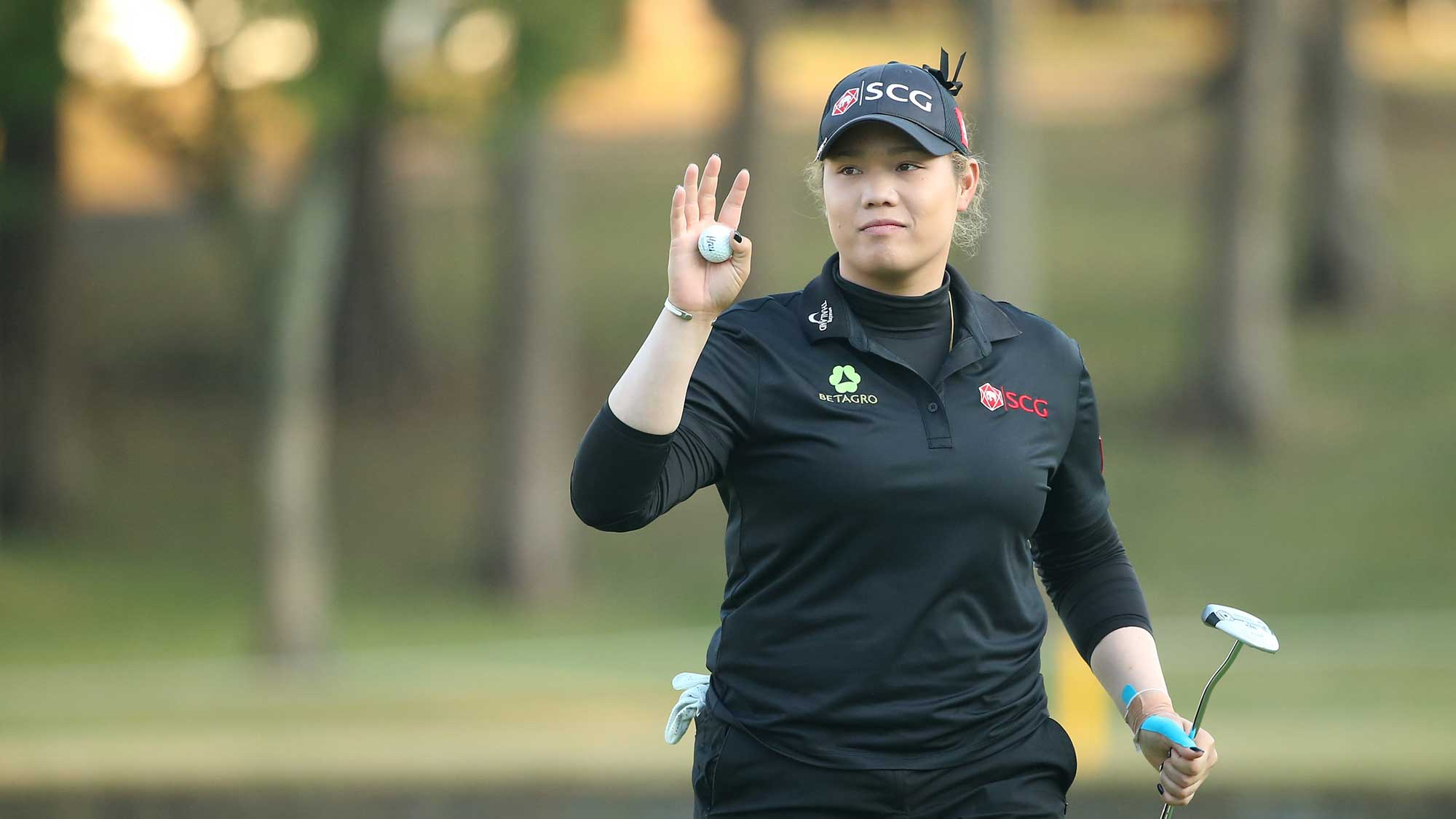 Ariya Jutanugarn of Thailand reacts during the second round of the TOTO Japan Classic