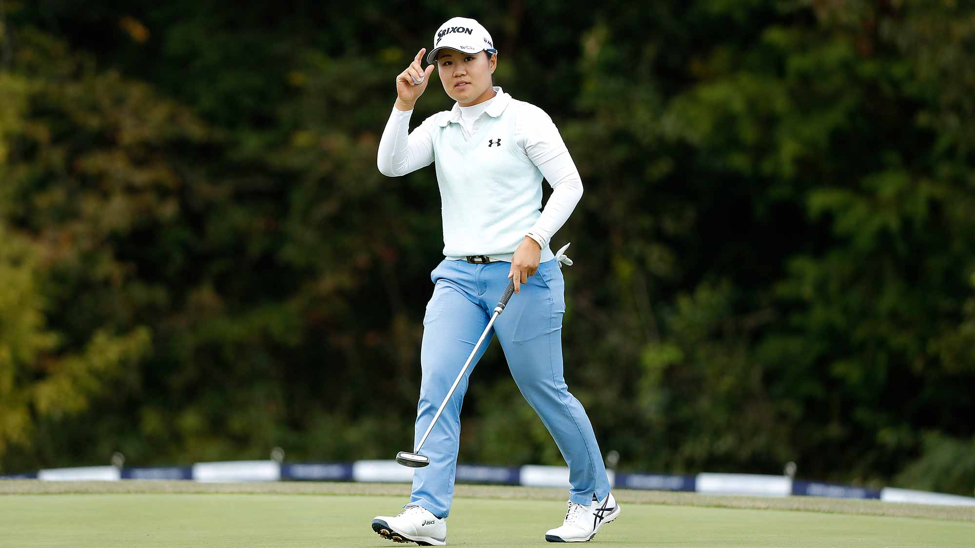 Nasa Hataoka of Japan walks off on the 18th green during the first round of the TOTO Japan Classic at Seta Golf Course on November 02, 2018 in Otsu, Shiga, Japan