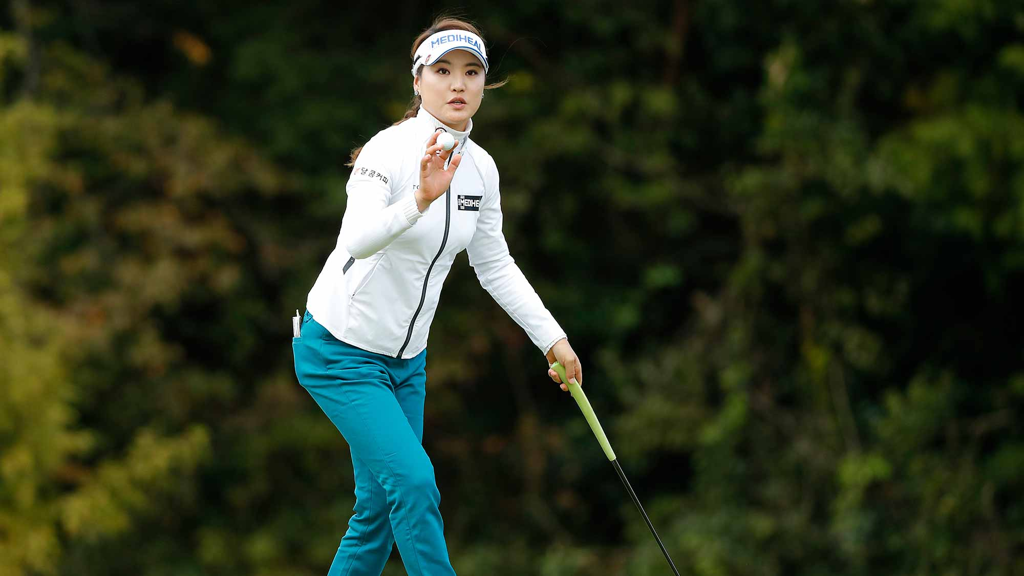 So Yeon Ryu of South Korea reacts after a putt on the 18th green during the first round of the TOTO Japan Classic at Seta Golf Course on November 02, 2018 in Otsu, Shiga, Japan