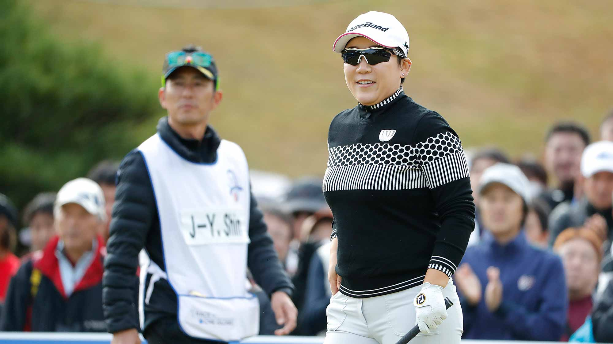 Jiyai Shin of South Korea watches on the first hole during the first round of the TOTO Japan Classic at Seta Golf Course on November 02, 2018 in Otsu, Shiga, Japan