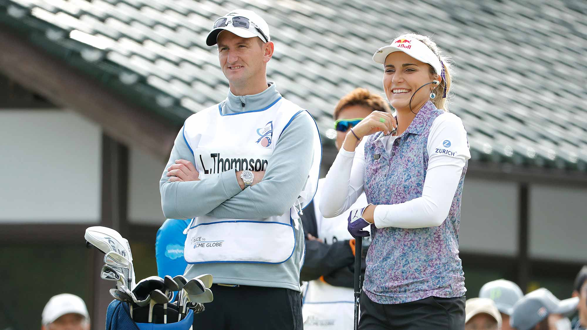 Lexi Thompson of United States watches on the first hole during the first round of the TOTO Japan Classic at Seta Golf Course on November 02, 2018 in Otsu, Shiga, Japan