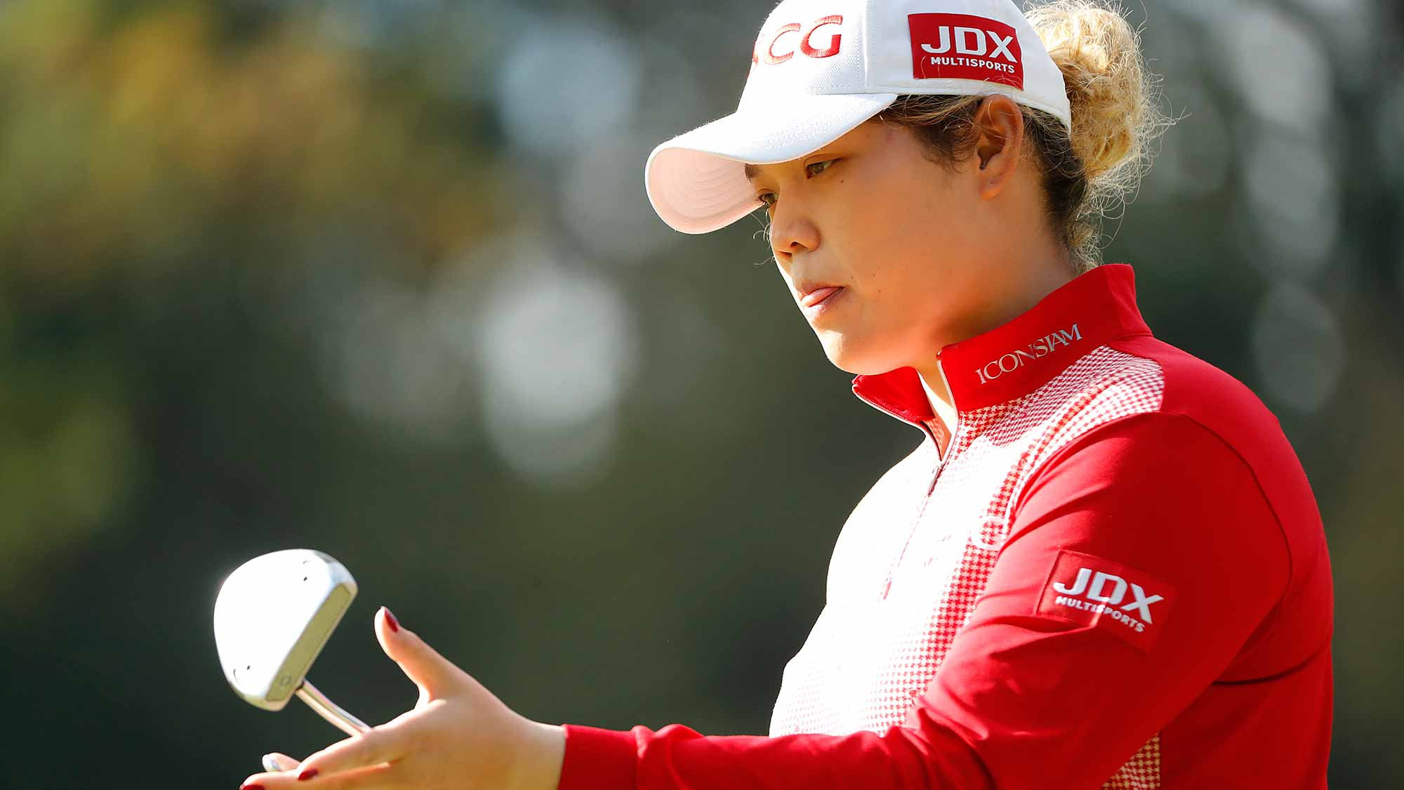 Ariya Jutanugarn of Thailand prepares to putt on the sixth green during the second round of the TOTO Japan Classic at Seta Golf Course on November 03, 2018 in Otsu, Shiga, Japan