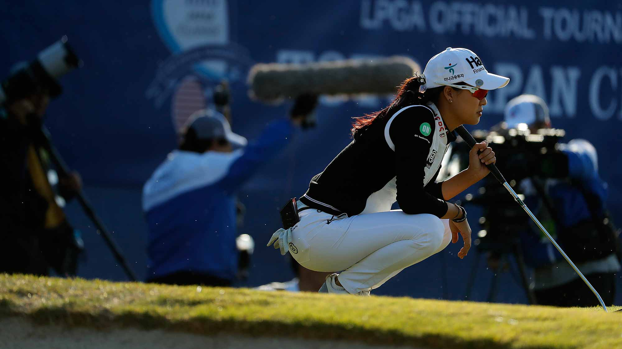 Minjee Lee of Australia prepares to putt on the 18th green during the second round of the TOTO Japan Classic at Seta Golf Course on November 03, 2018 in Otsu, Shiga, Japan