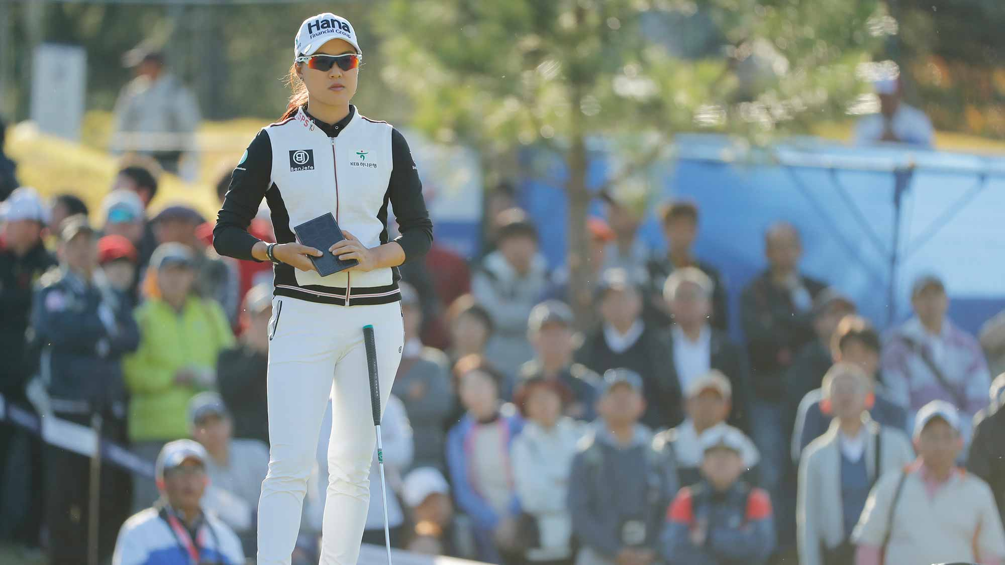 Minjee Lee of Australia looks on during the second round of the TOTO Japan Classic at Seta Golf Course on November 03, 2018 in Otsu, Shiga, Japan