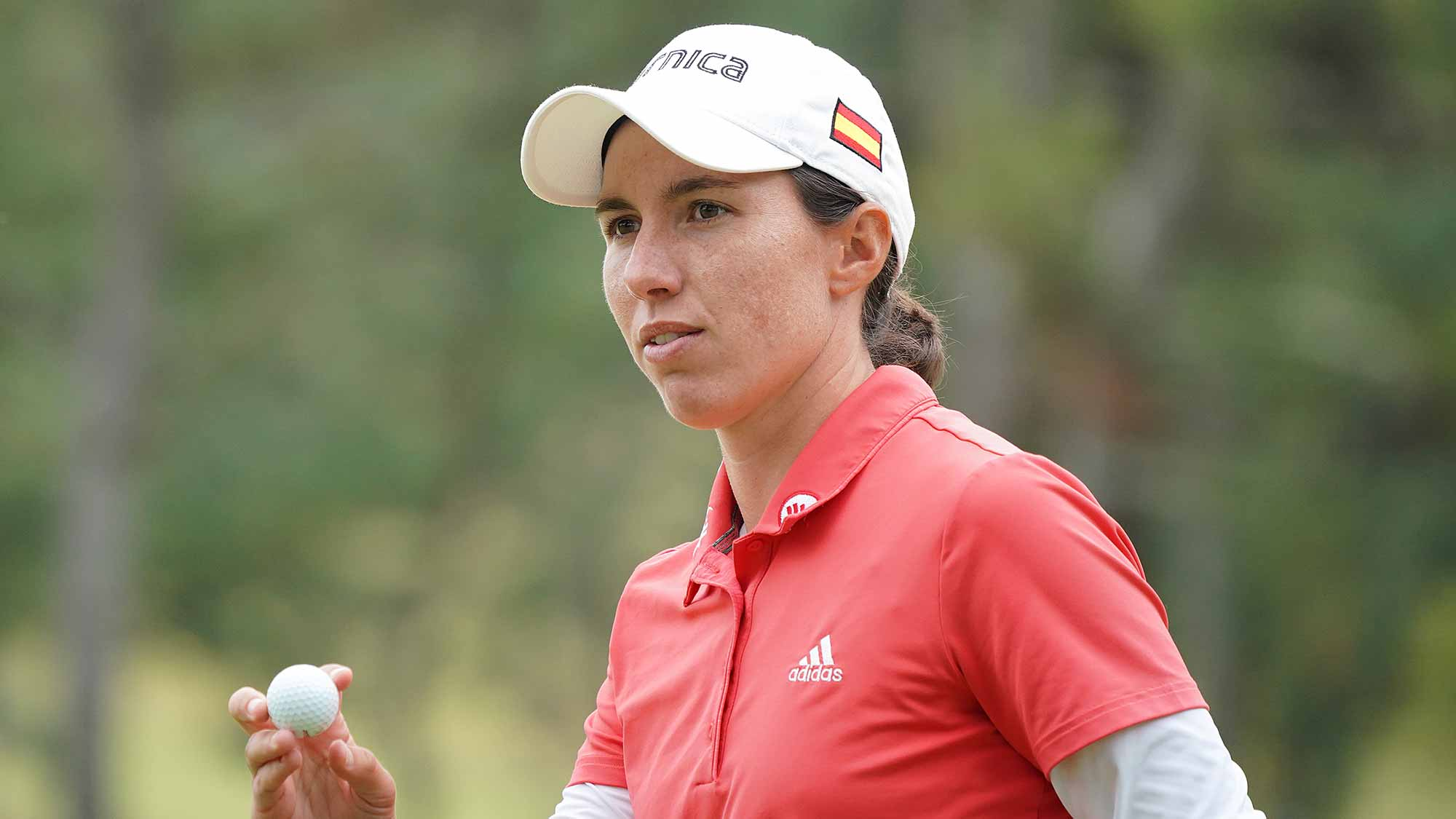 Carlota Ciganda of Spain reacts after a putt on the 13th green during the final round of the TOTO Japan Classic at Seta Golf Course on November 04, 2018 in Otsu, Shiga, Japan.