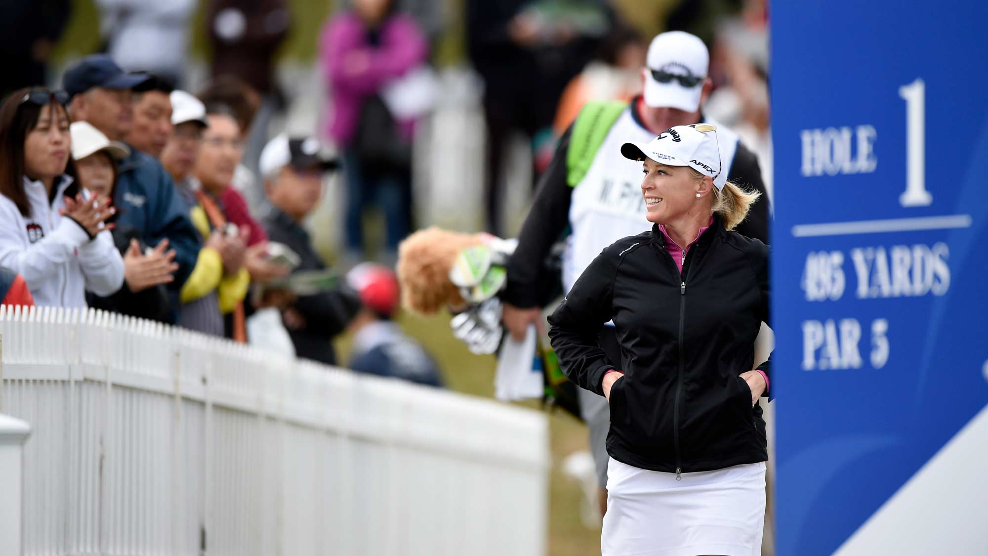 Morgan Pressel walks to the first tee