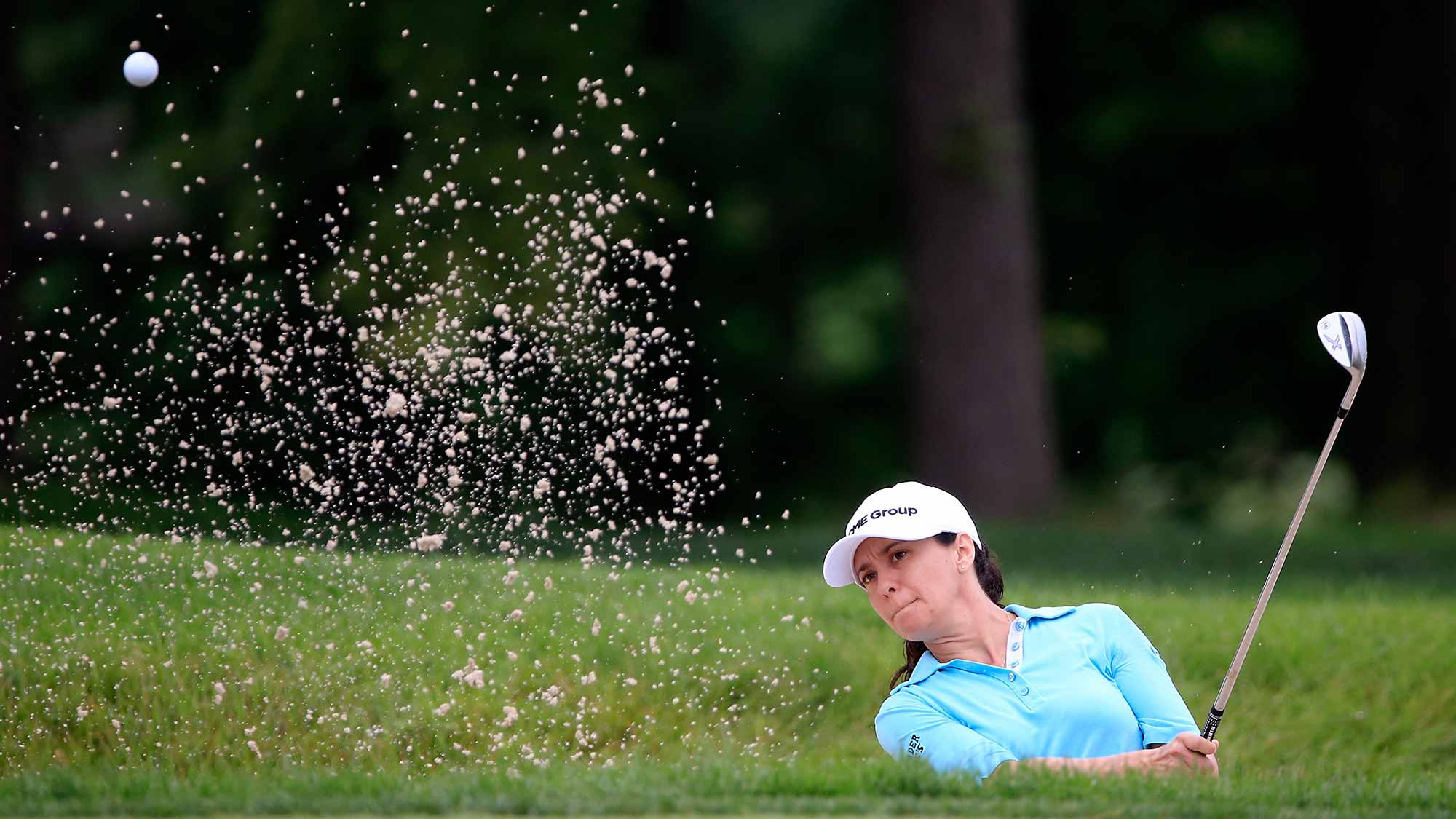 Mo Martin of the United States plays a shot on the third hole during the first round of the U.S. Women's Open at Lancaster Country Club