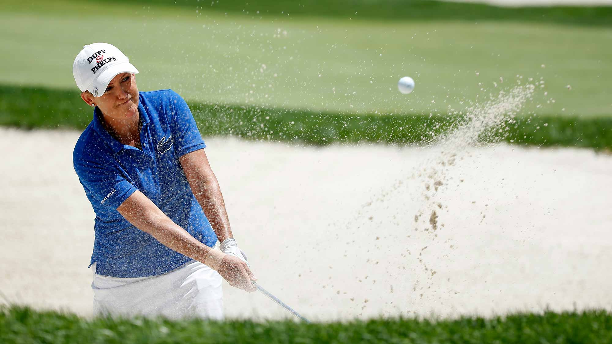 Cristie Kerr of the United States hits a bunker shot on the 16th hole during the second round of the U.S. Women's Open at Lancaster Country Club
