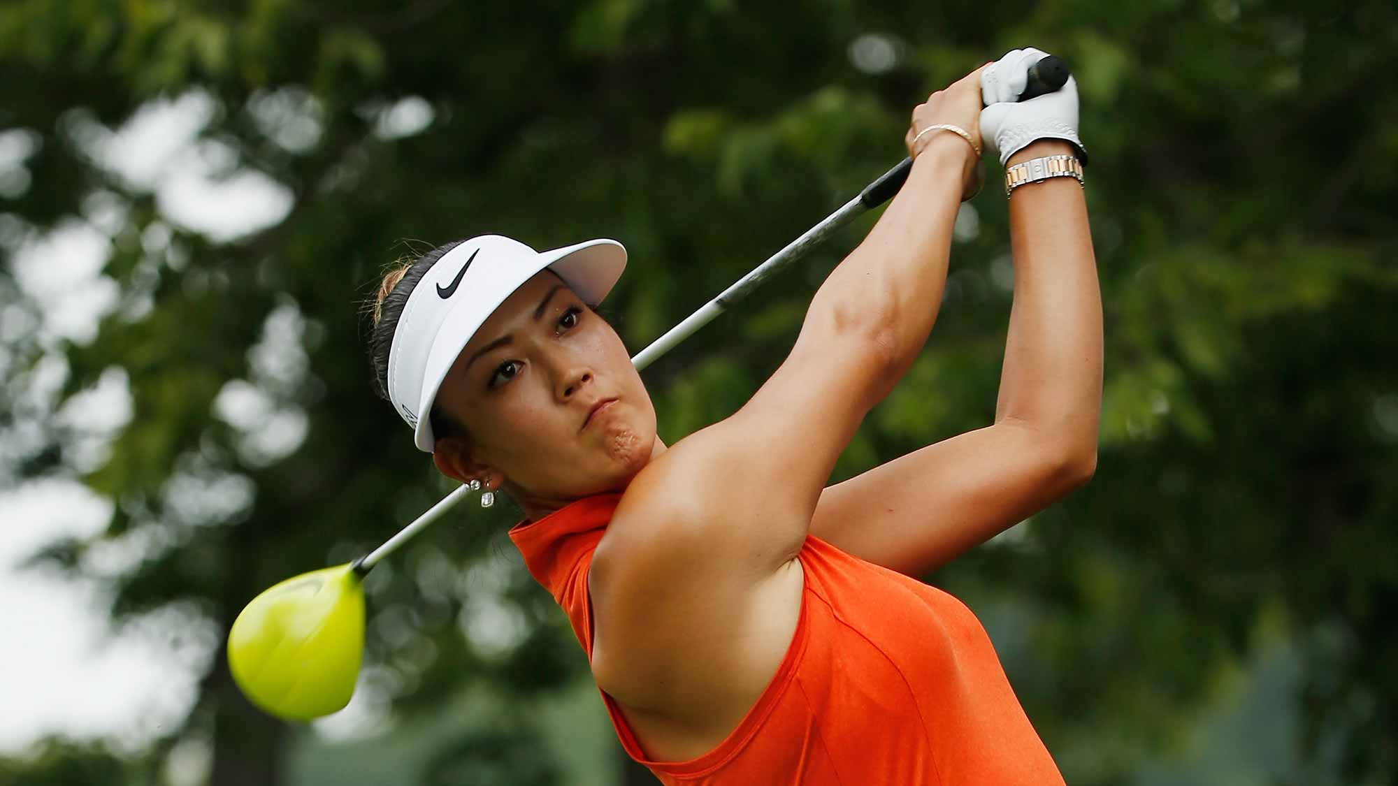 Michelle Wie of the United States hits her tee shot on the second hole during the final round of the U.S. Women's Open at Lancaster Country Club