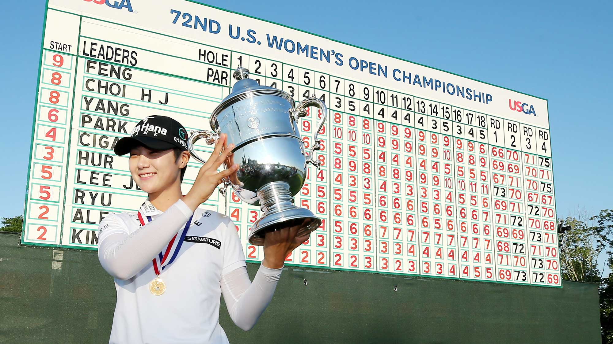 e9757f6e310 Sung Hyun Park of Korea poses with the trophy after the final round of the  U.S. Women s Open on July 16