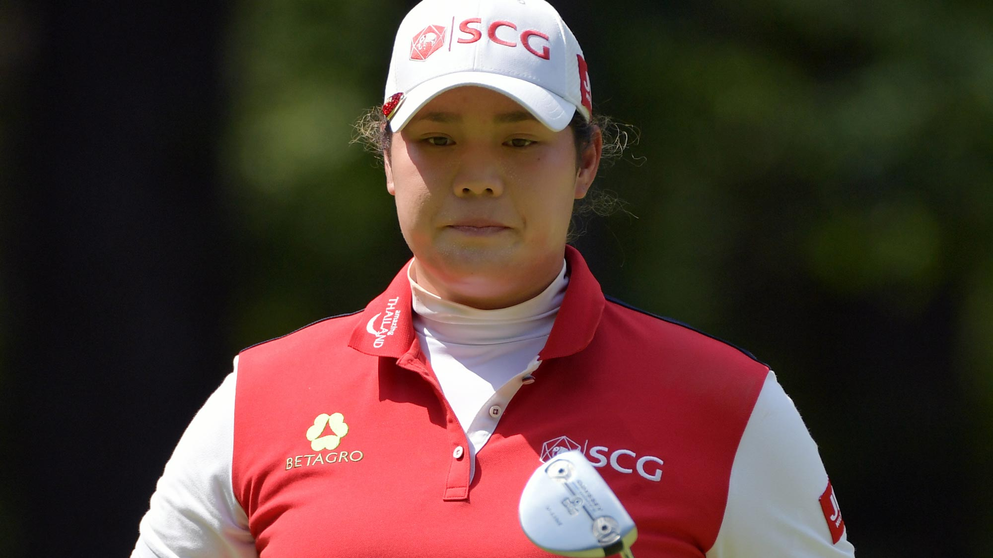 Ariya Jutanugarn of Thailand walks from the first hole after a birdie during the third round of the 2018 U.S. Women's Open
