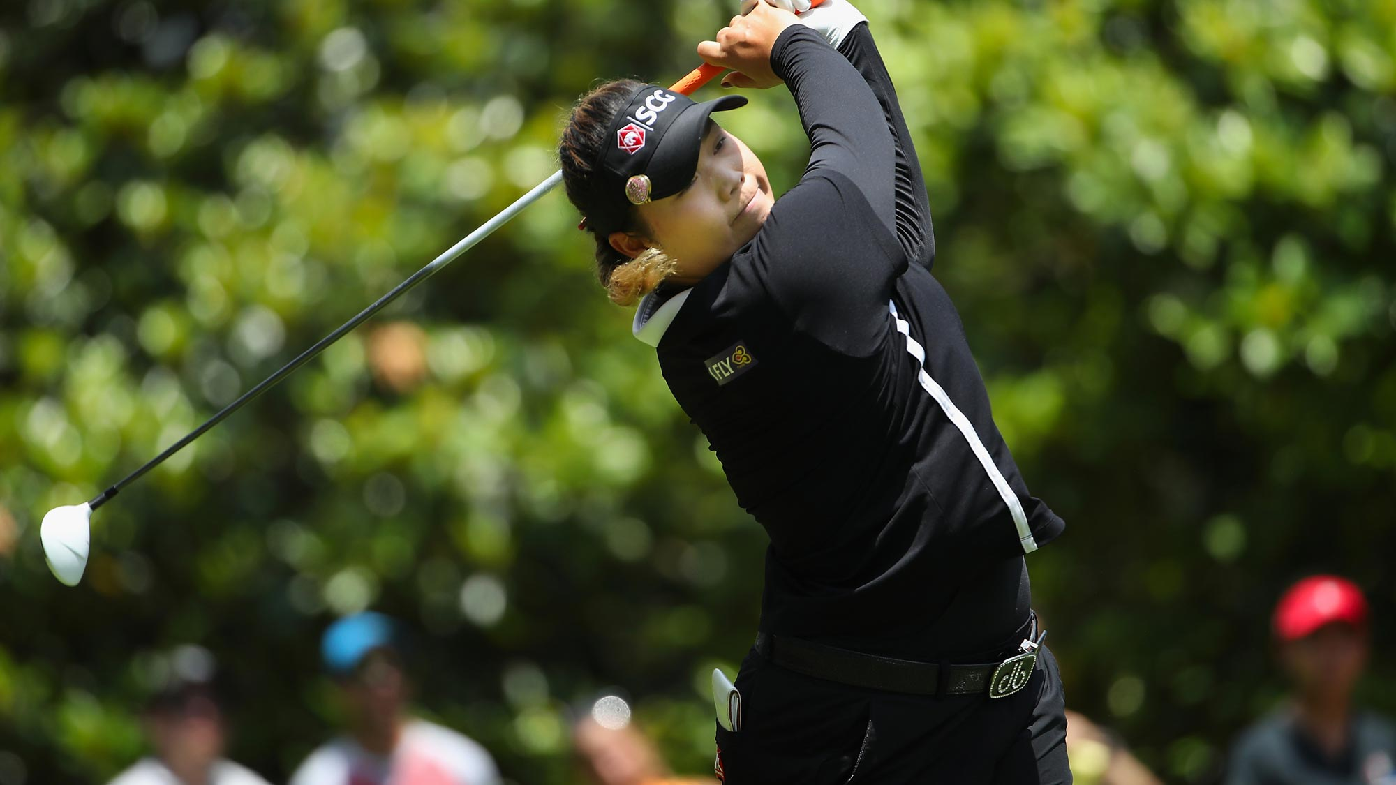 Ariya Jutanugarn of Thailand plays a tee shot on the third hole during the final round of the 2018 U.S. Women's Open