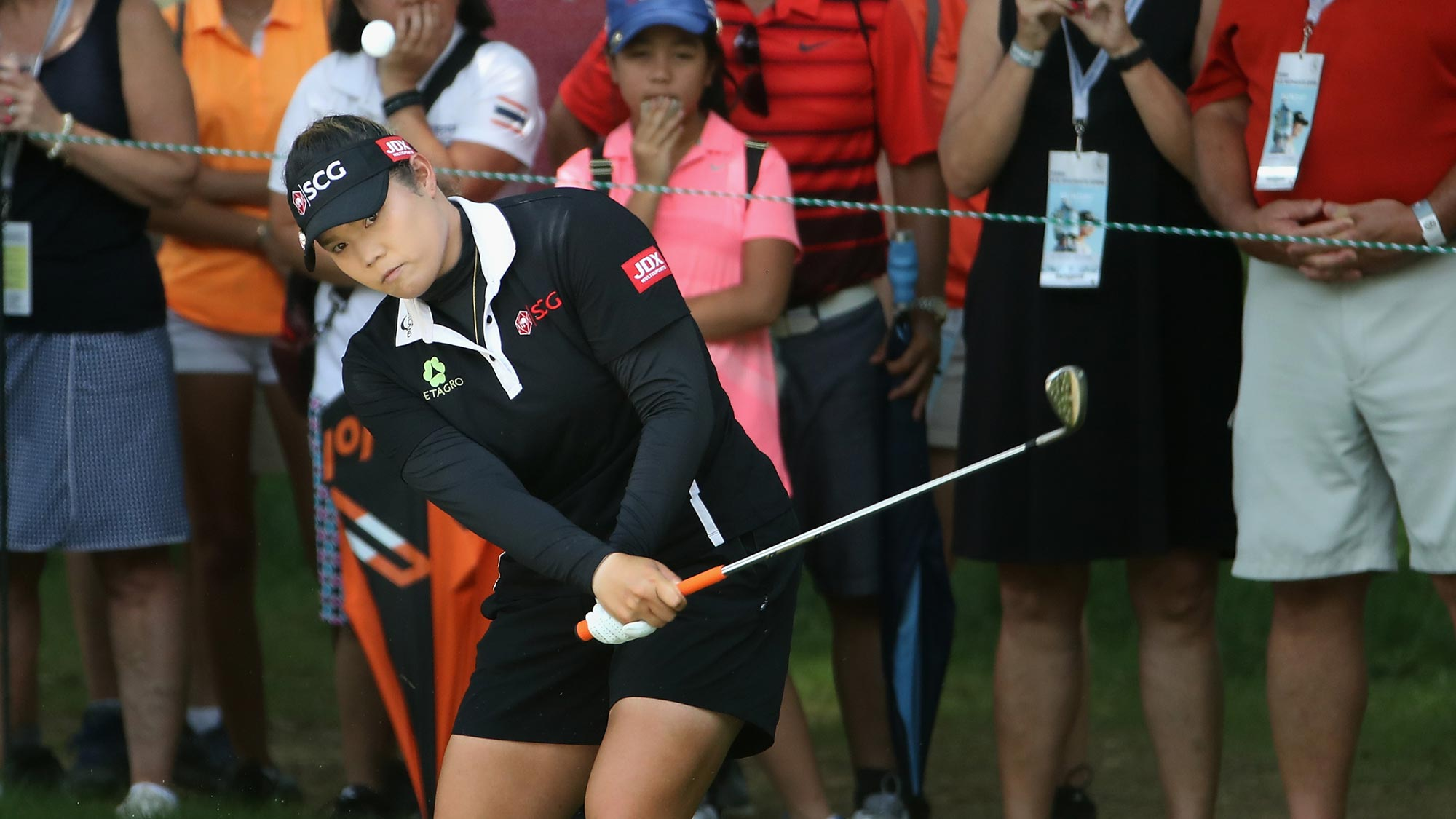 Ariya Jutanugarn of Thailand chips onto the second green during the final round of the 2018 U.S. Women's Open