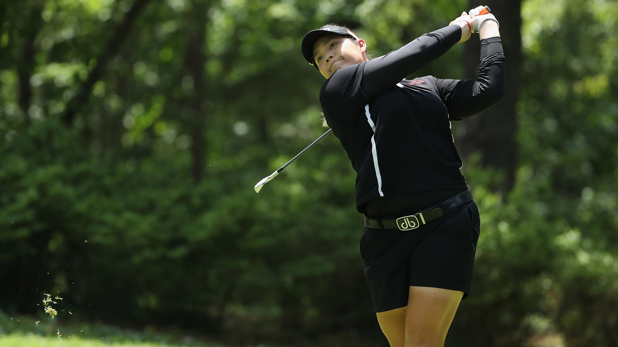 Ariya Jutanugarn of Thailand plays a tee shot on the second hole during the final round of the 2018 U.S. Women's Open
