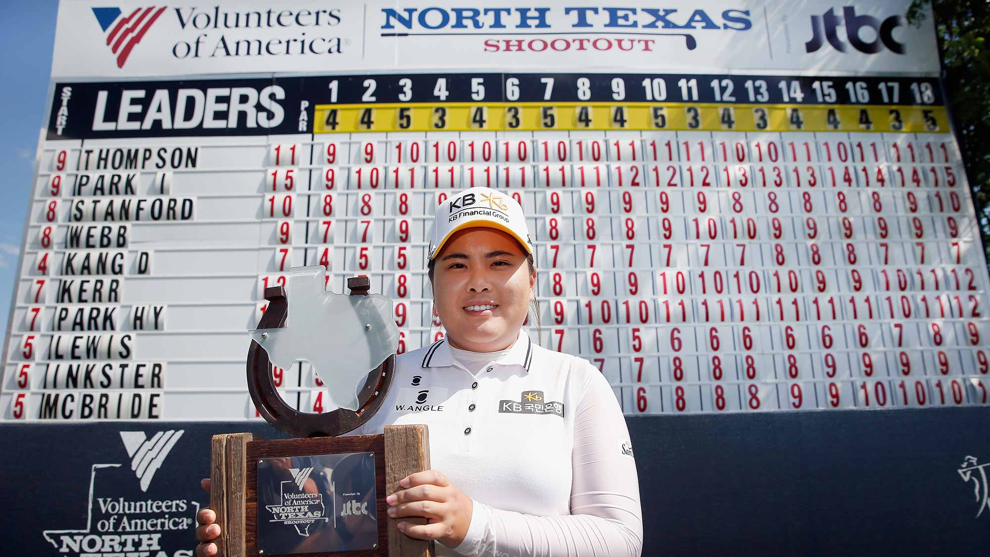 Inbee Park of South Korea poses with the trophy after winning the Final Round of the 2015 Volunteers of America North Texas Shootout Presented by JTBC